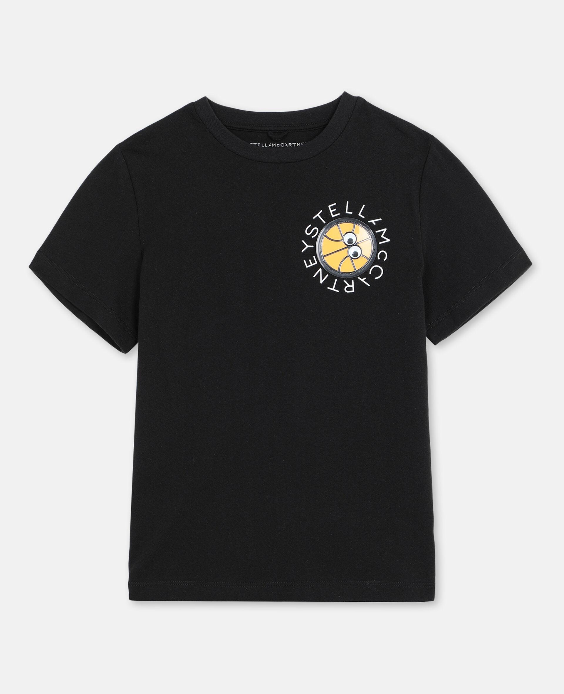 Baumwoll-T-Shirt mit 3D-Logo-Aufnäher-Schwarz-large image number 0