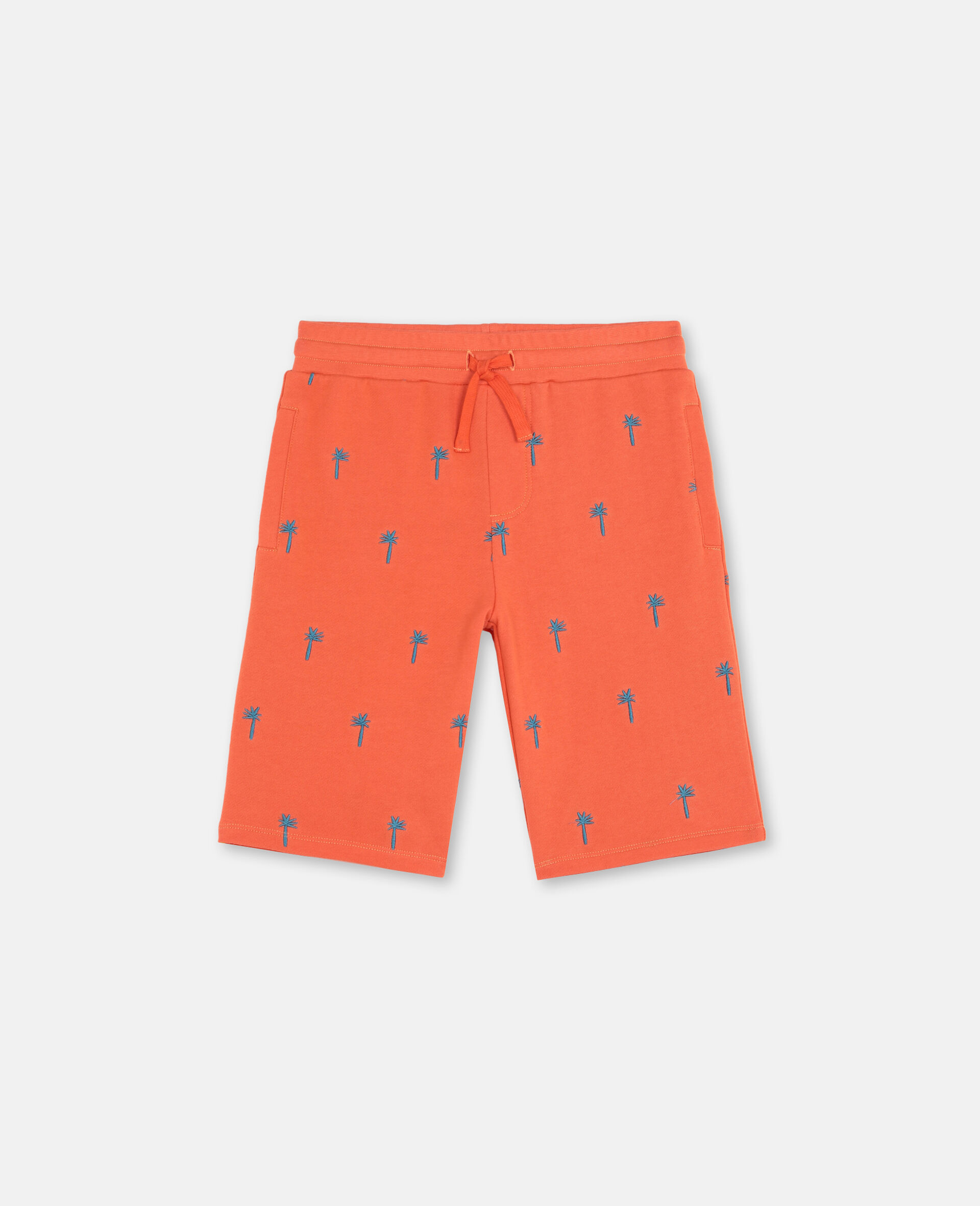 Embroidered Palm Cotton Shorts-Red-large image number 0