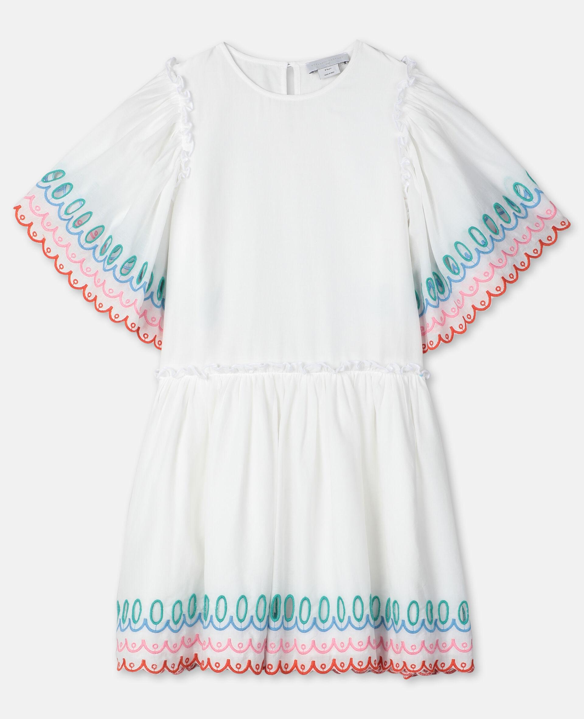 Scalloped Cotton Dress-White-large image number 0