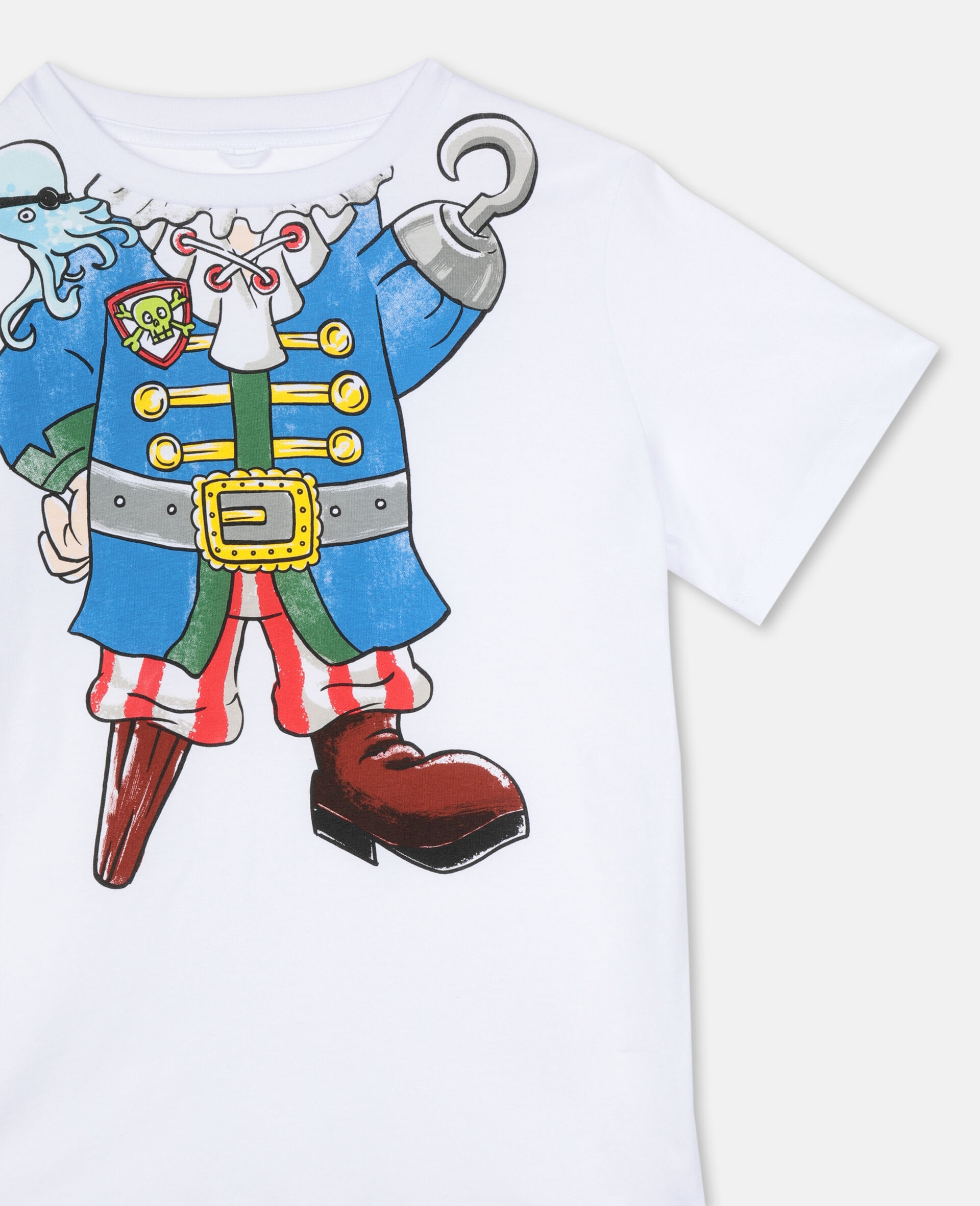 Trompe-L'Oeil Pirate Cotton T-shirt -White-large image number 2