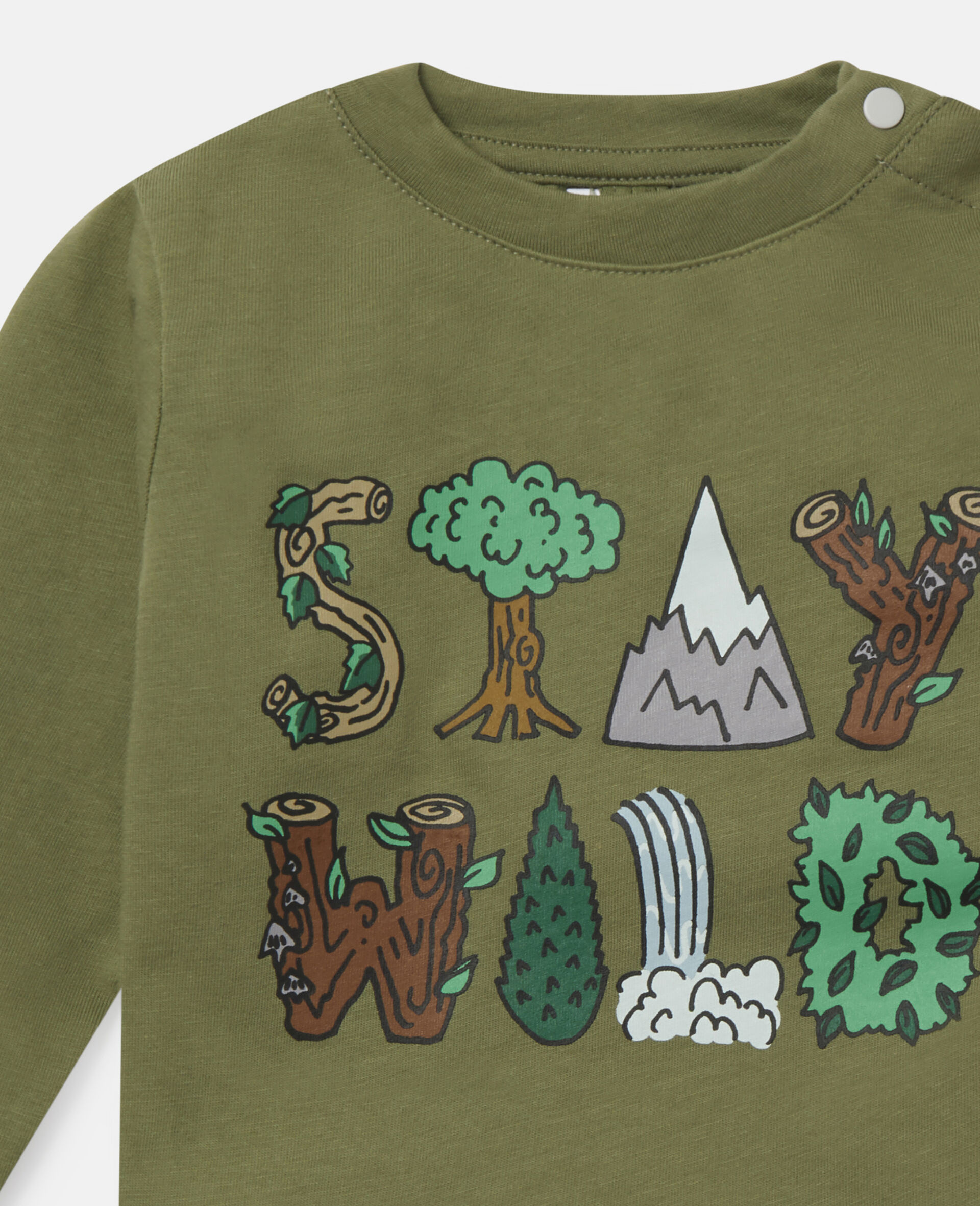 'Stay Wild' Cotton Top-Green-large image number 1