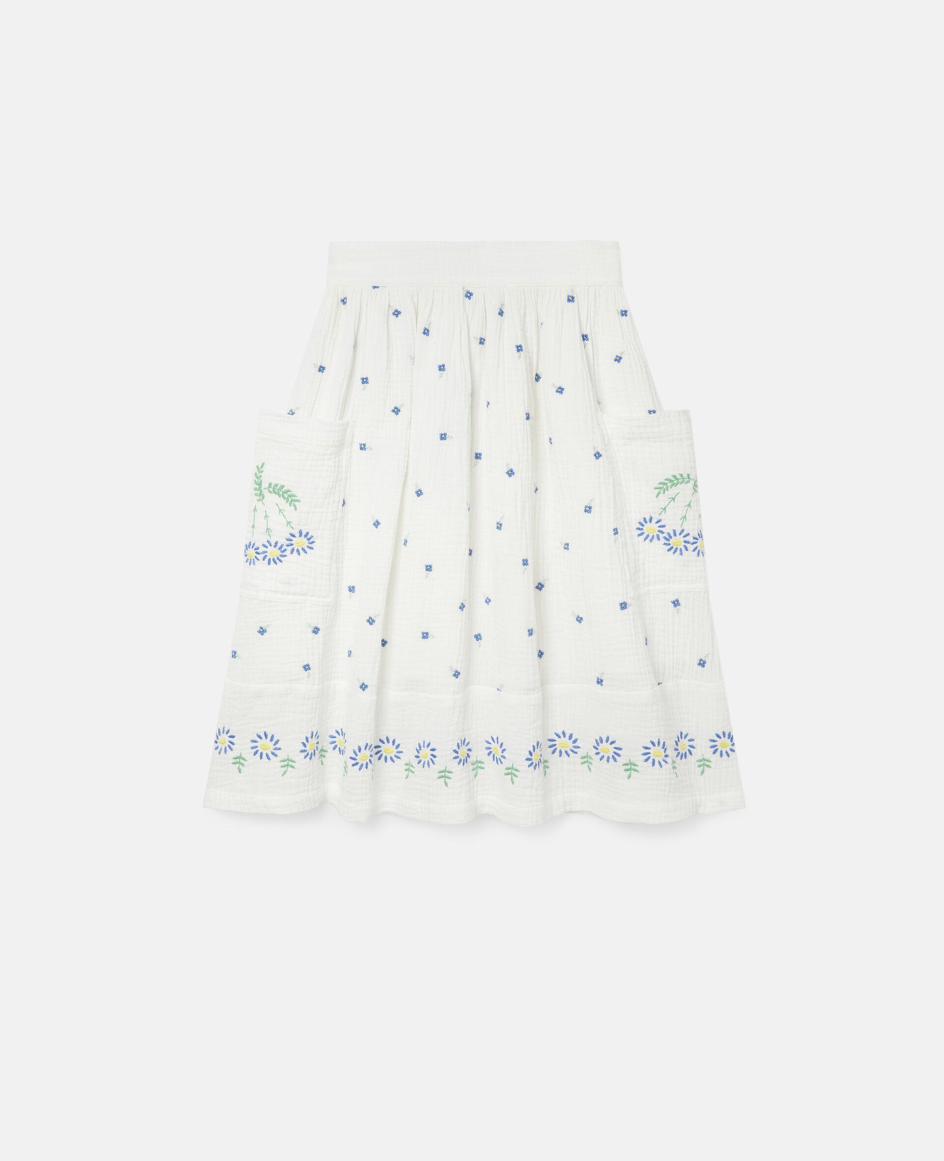 Jupe en coton à fleurs brodées-Blanc-large image number 0