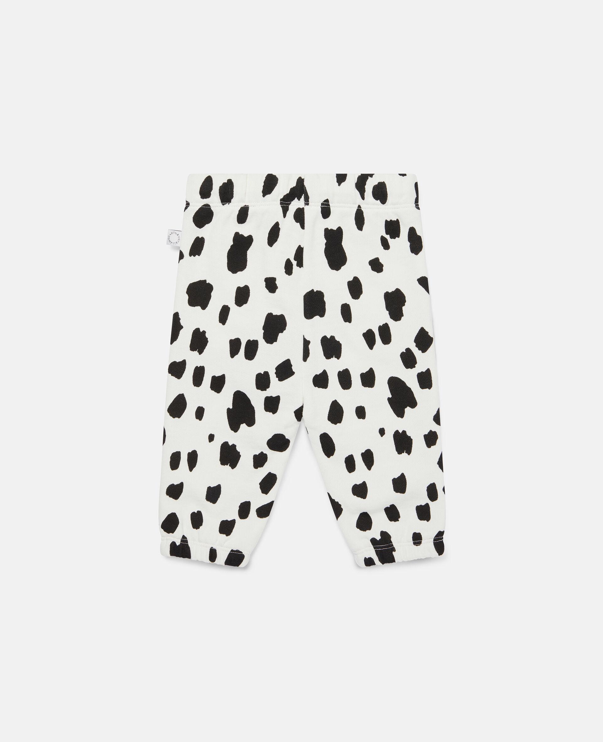 Dalmatian Spots Fleece Joggers-White-large image number 3