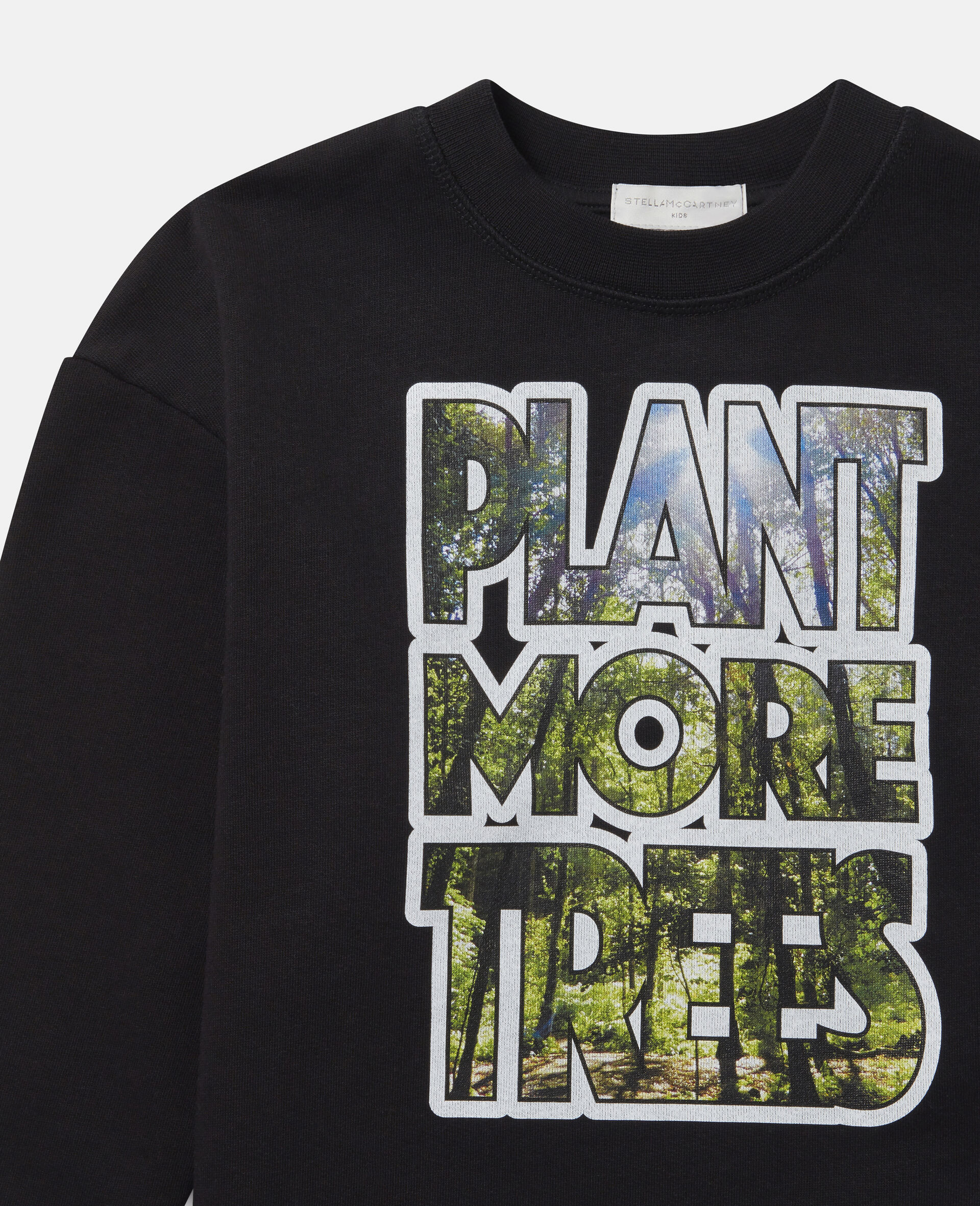 "Übergroßes Sweatshirt aus Fleece mit ""Flant More Trees""-Print-Schwarz-large image number 1"