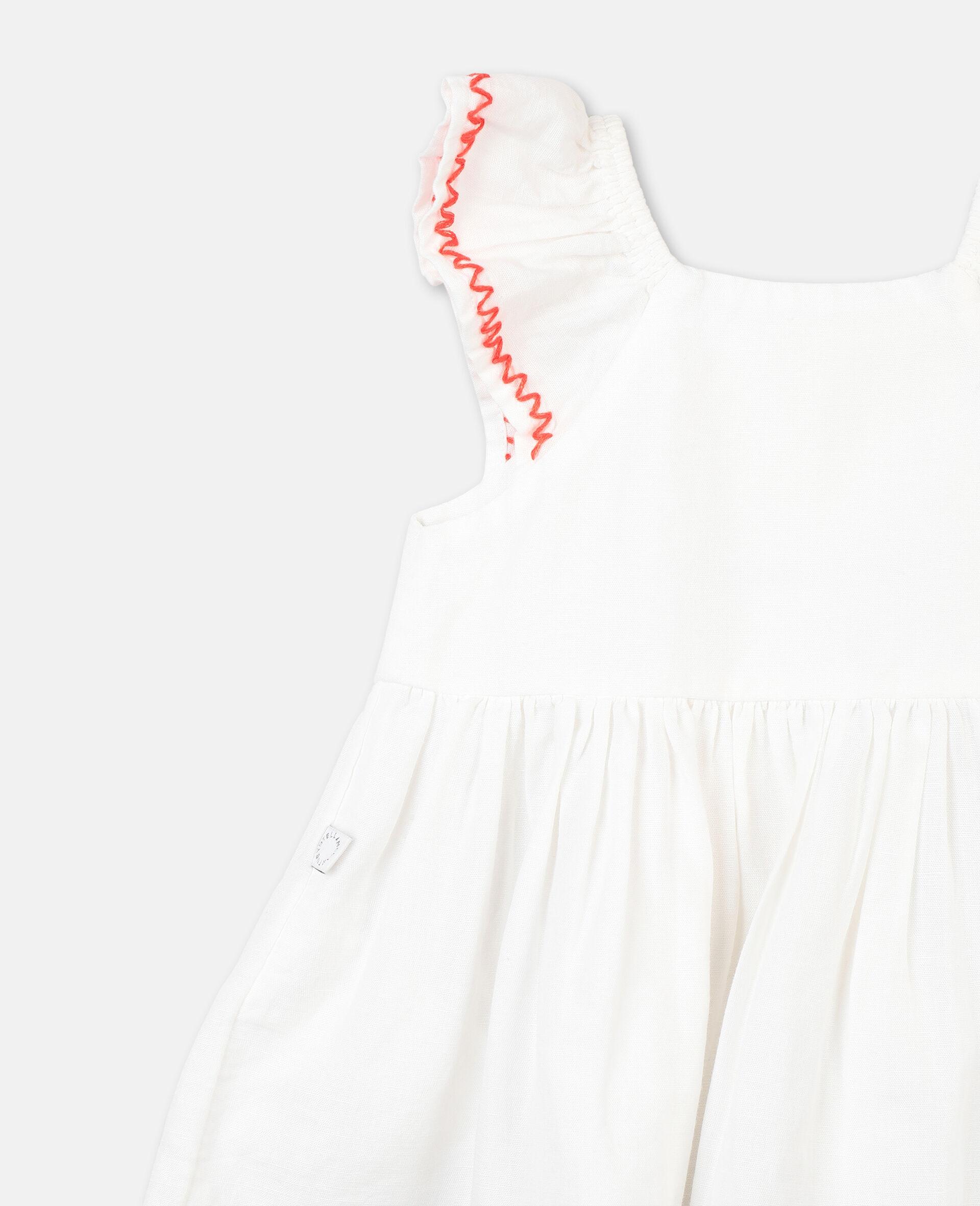 Smock Detail Dress-White-large image number 2