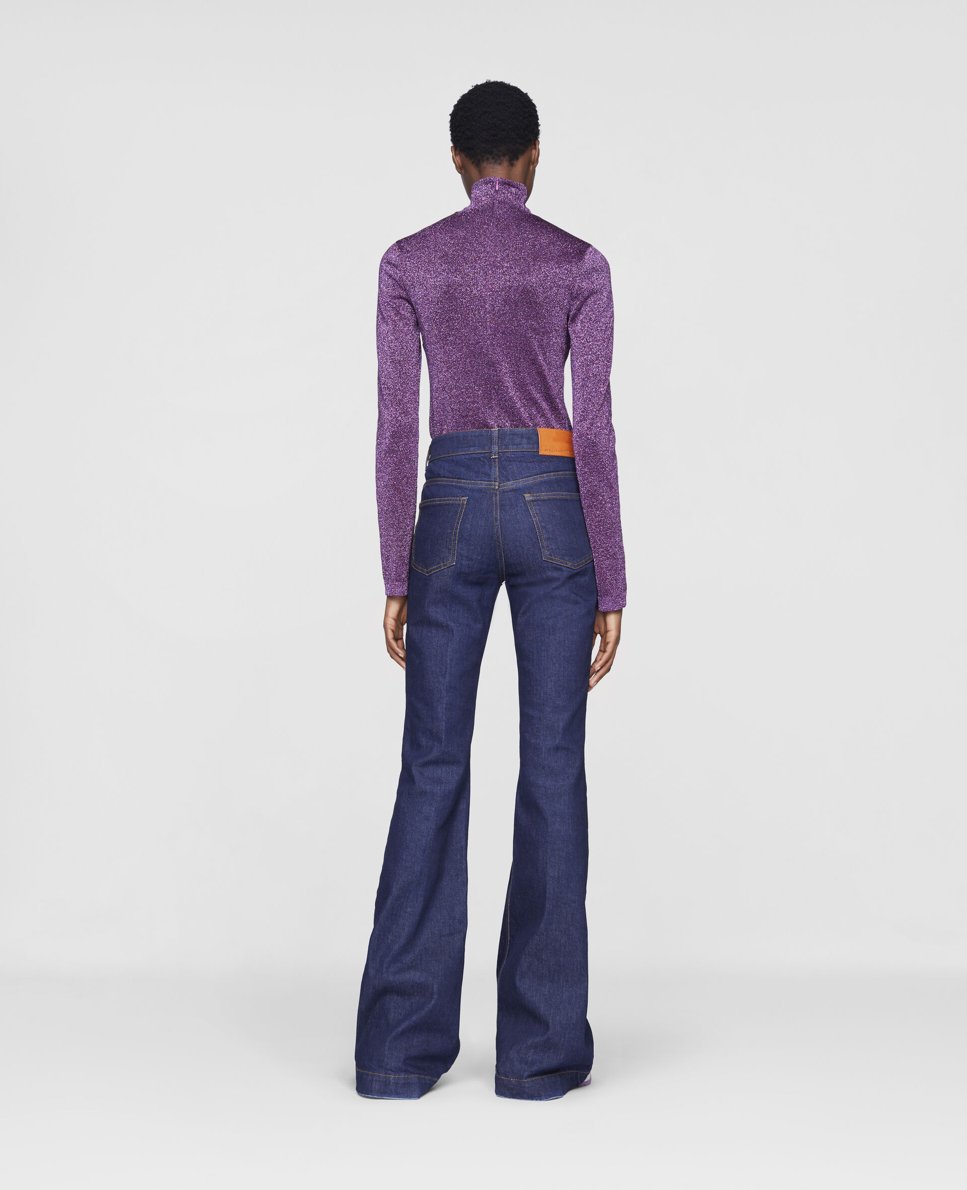 The 70s Flared Denim Trousers-Blue-large image number 2