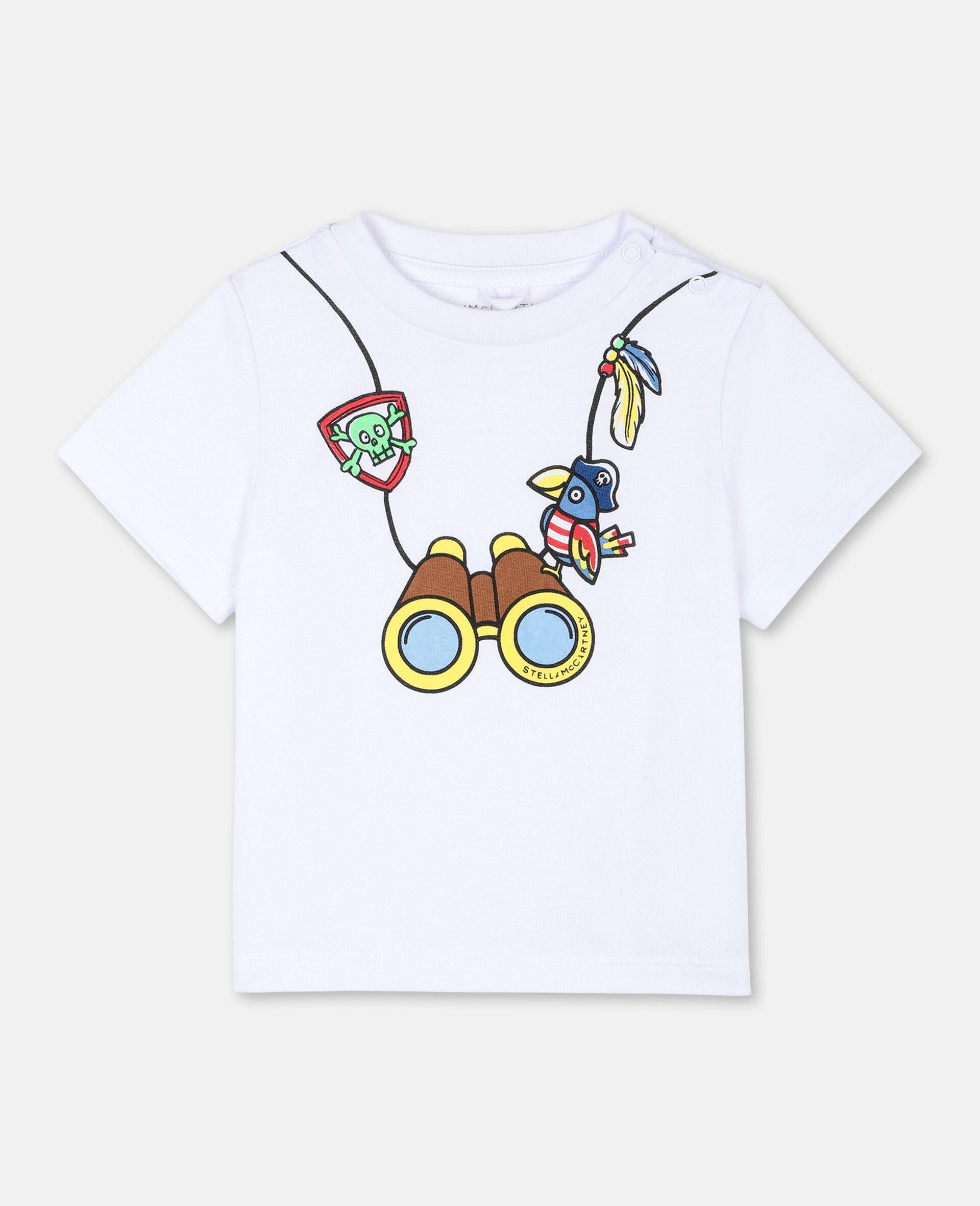 T-Shirt aus Baumwolle mit Fernglas-Print -Weiß-large image number 0