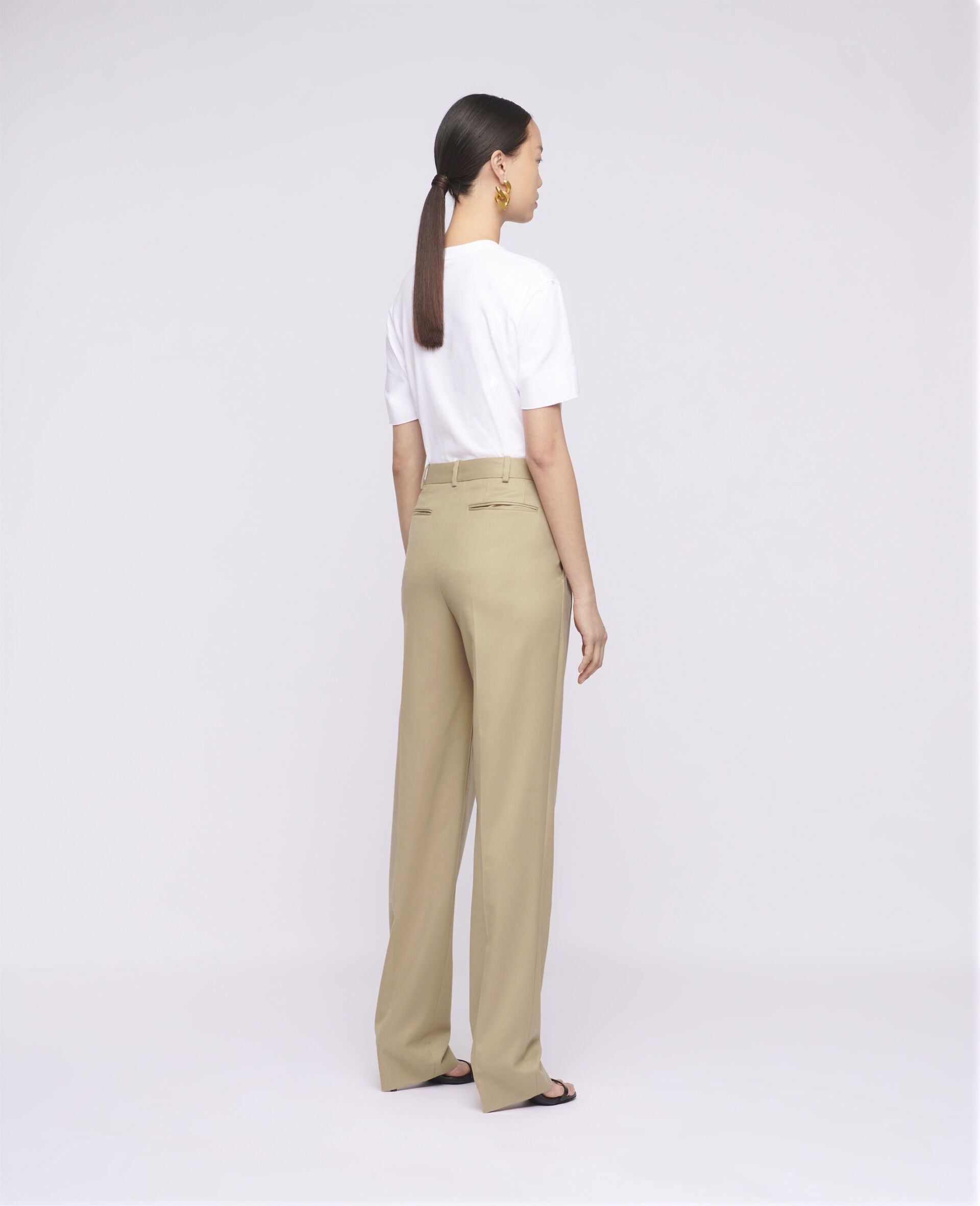 Pantalon en laine Kaiya-Marron-large image number 2