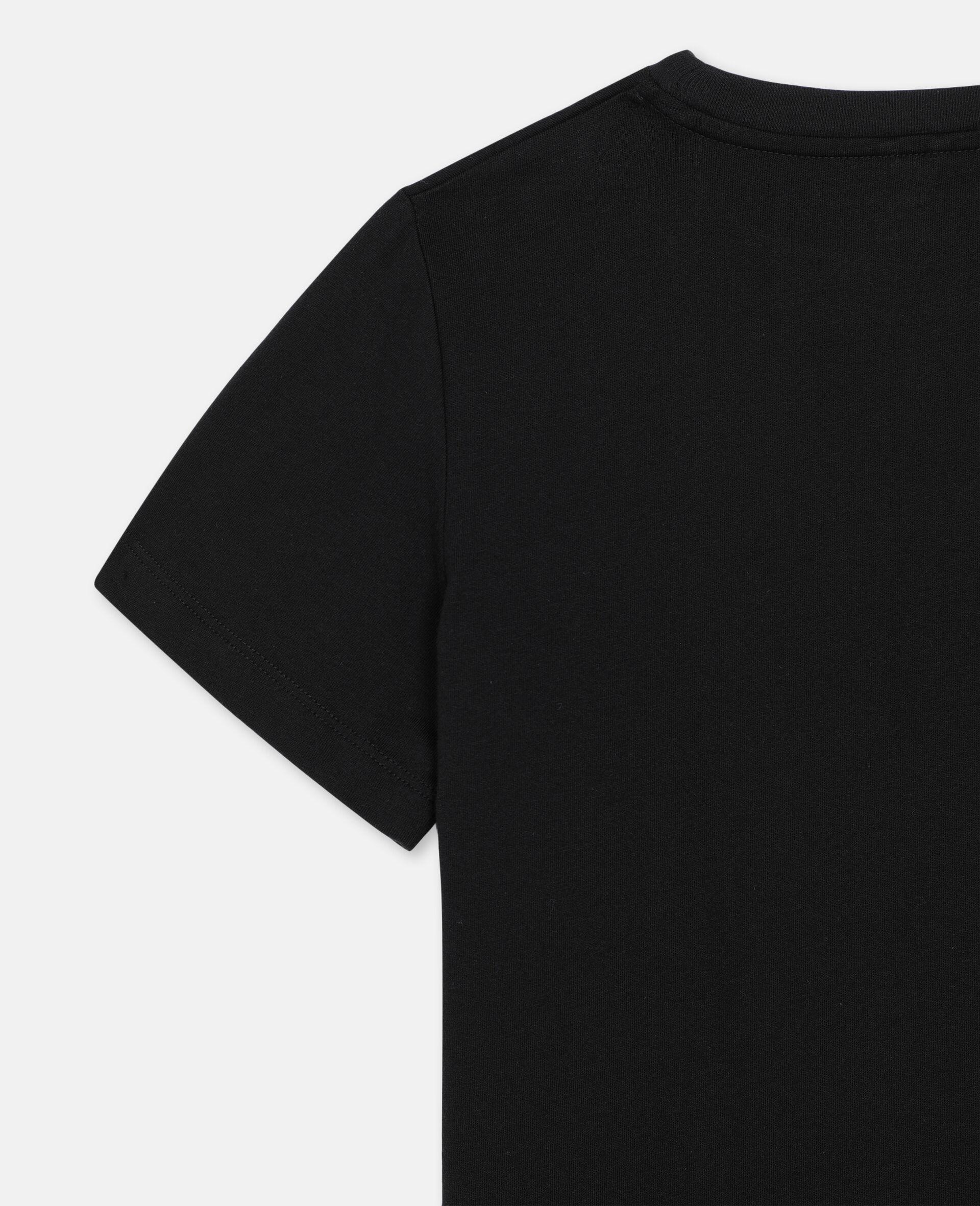 Baumwoll-T-Shirt mit 3D-Logo-Aufnäher-Schwarz-large image number 2