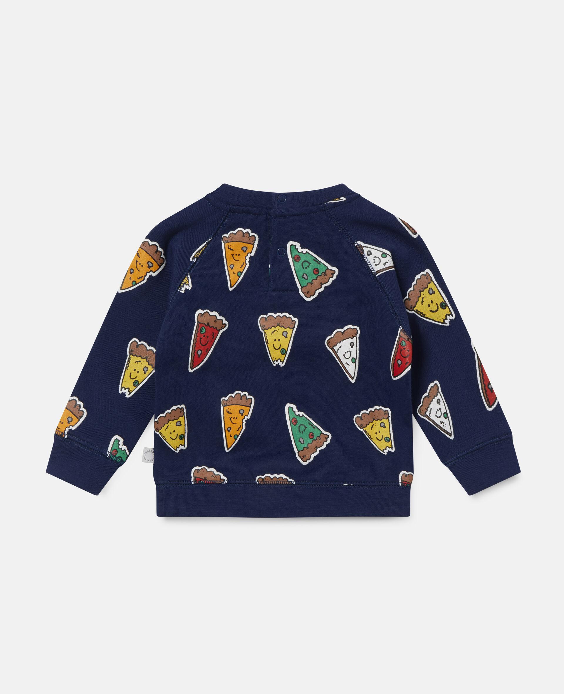 Fleece-Sweatshirt mit Pizzamotiv-Blau-large image number 3