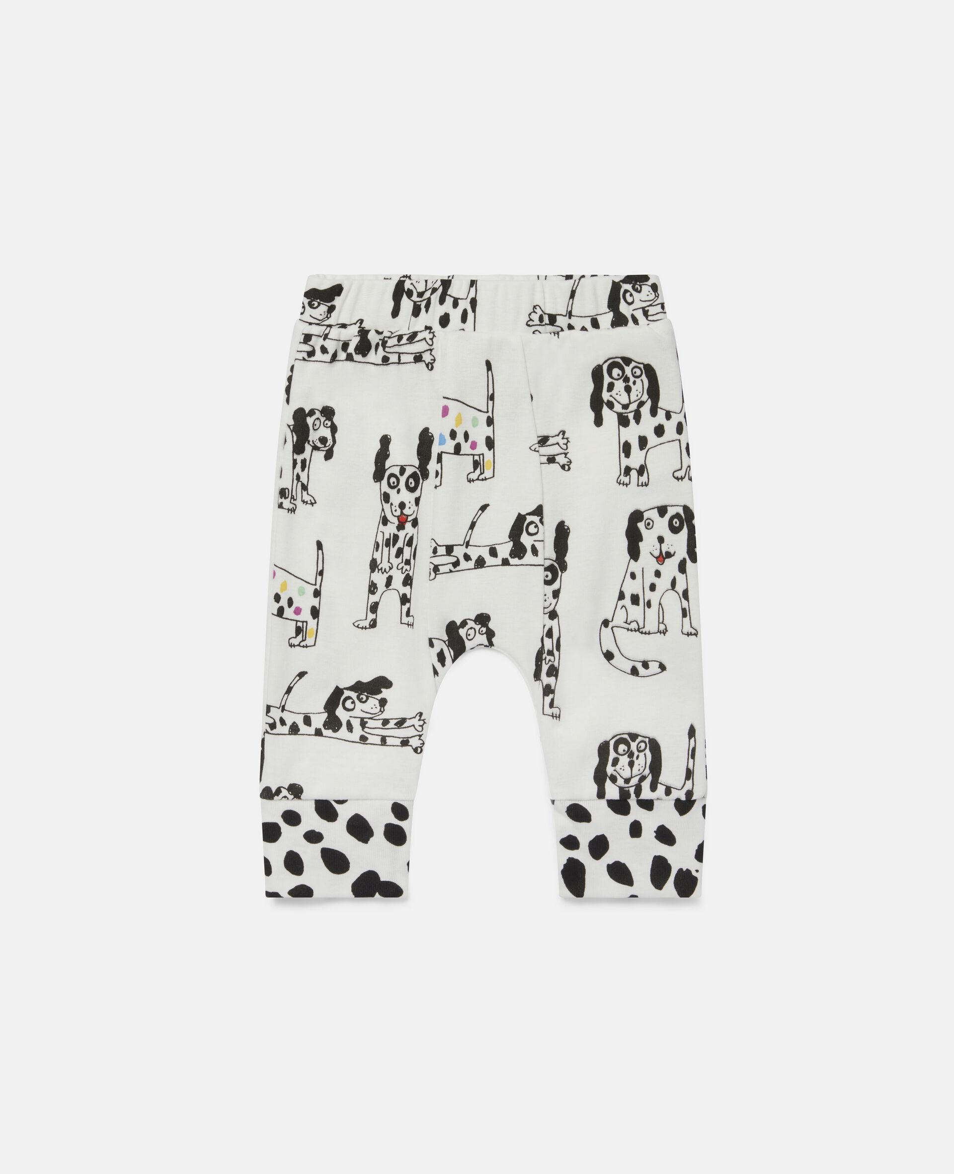 Legging en jersey côtelé à dalmatiens-Blanc-large image number 0