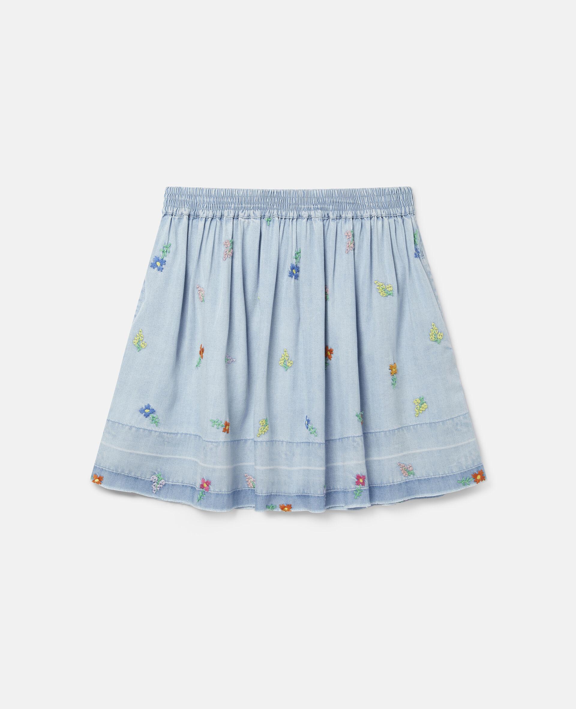Embroidered Flowers Denim Skirt-Blue-large image number 0
