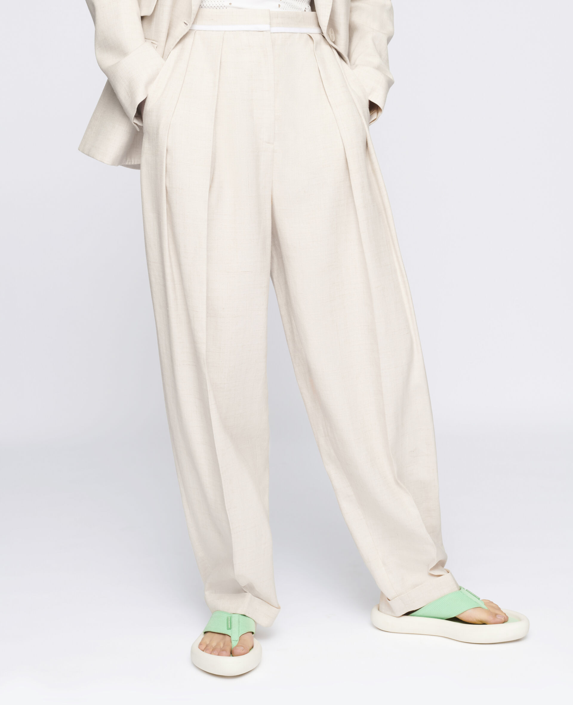 Ariana Tailored Trousers-Beige-large image number 3