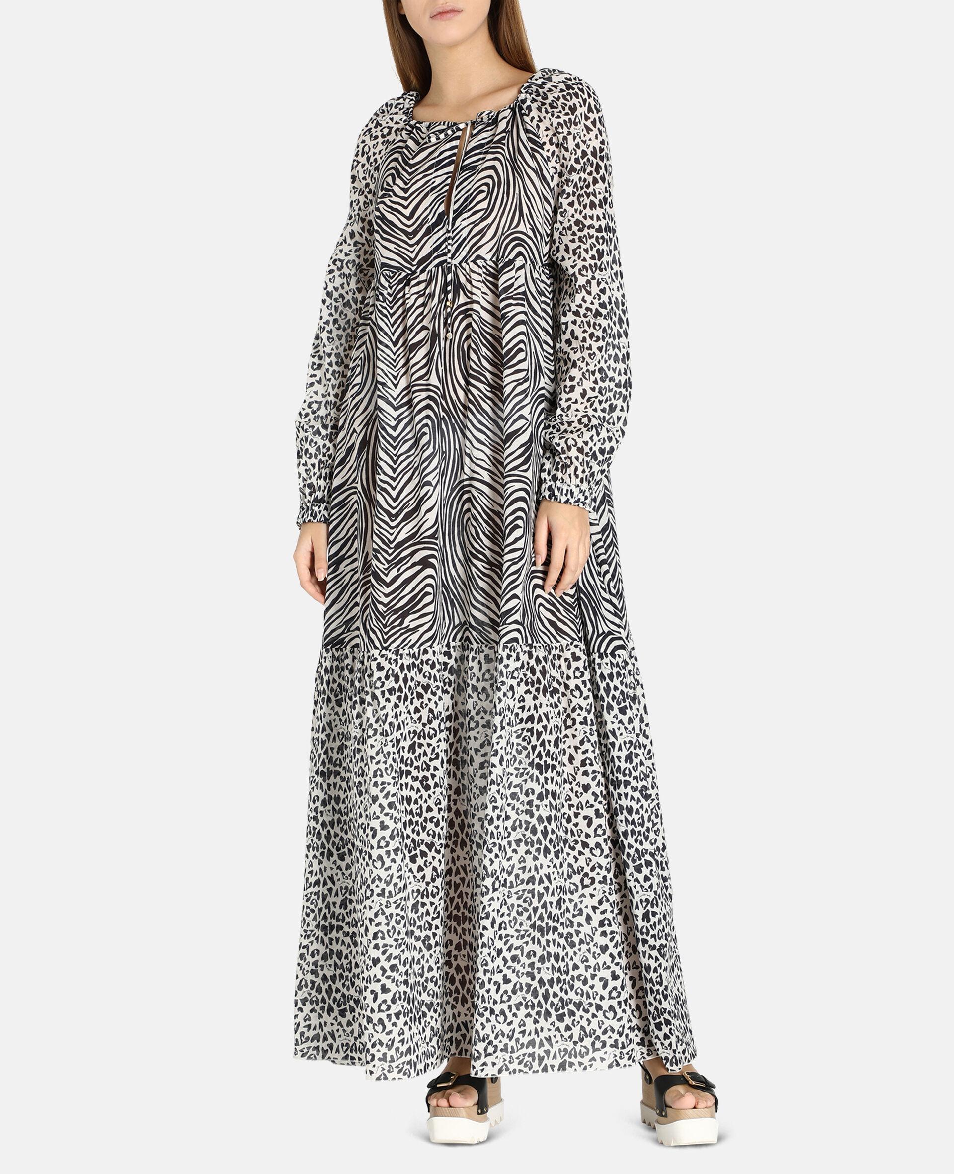 Langes Kleid mit Animal-Print-Mix-Schwarz-large image number 3