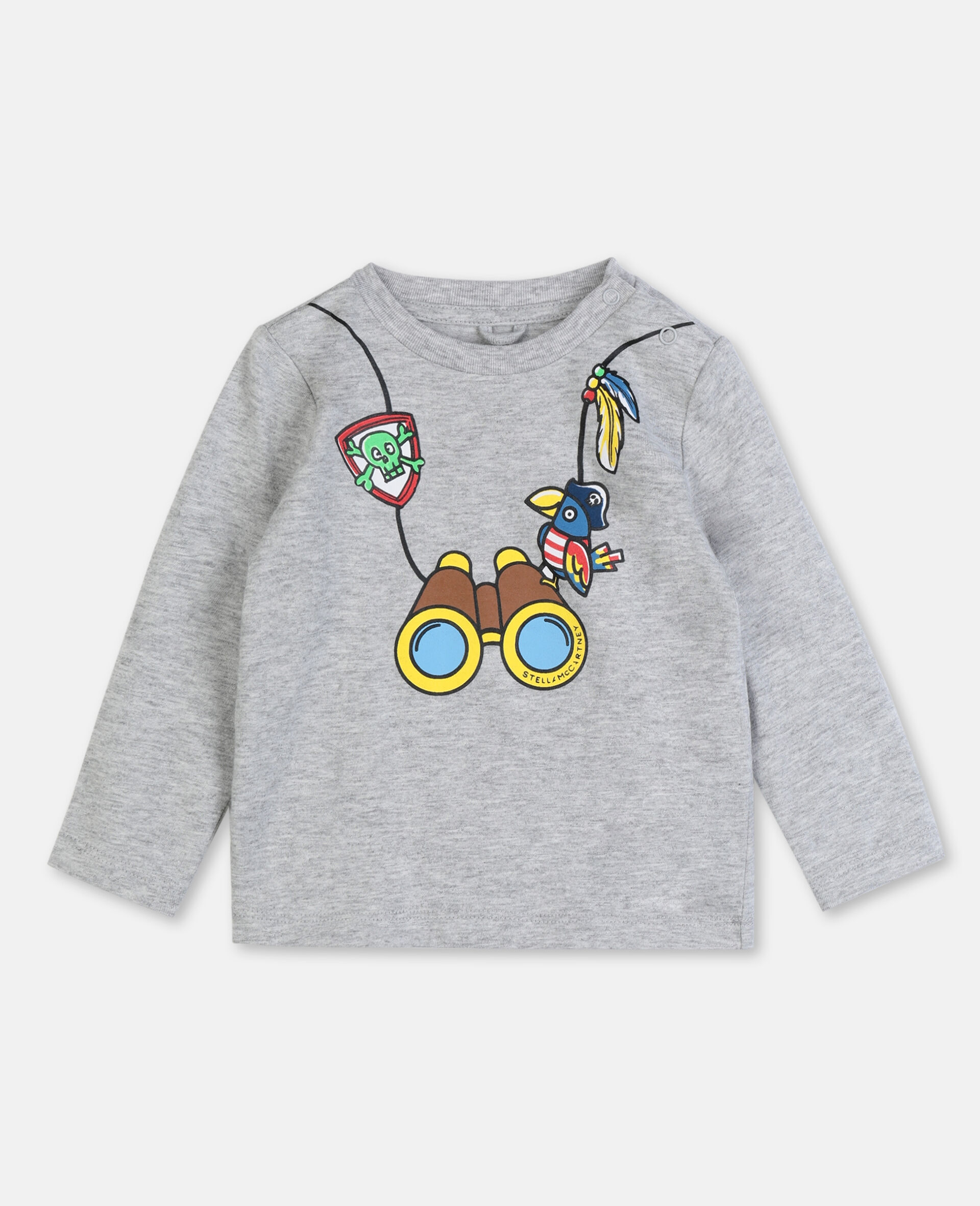 T-shirt en coton à motif jumelles -Gris-large image number 0