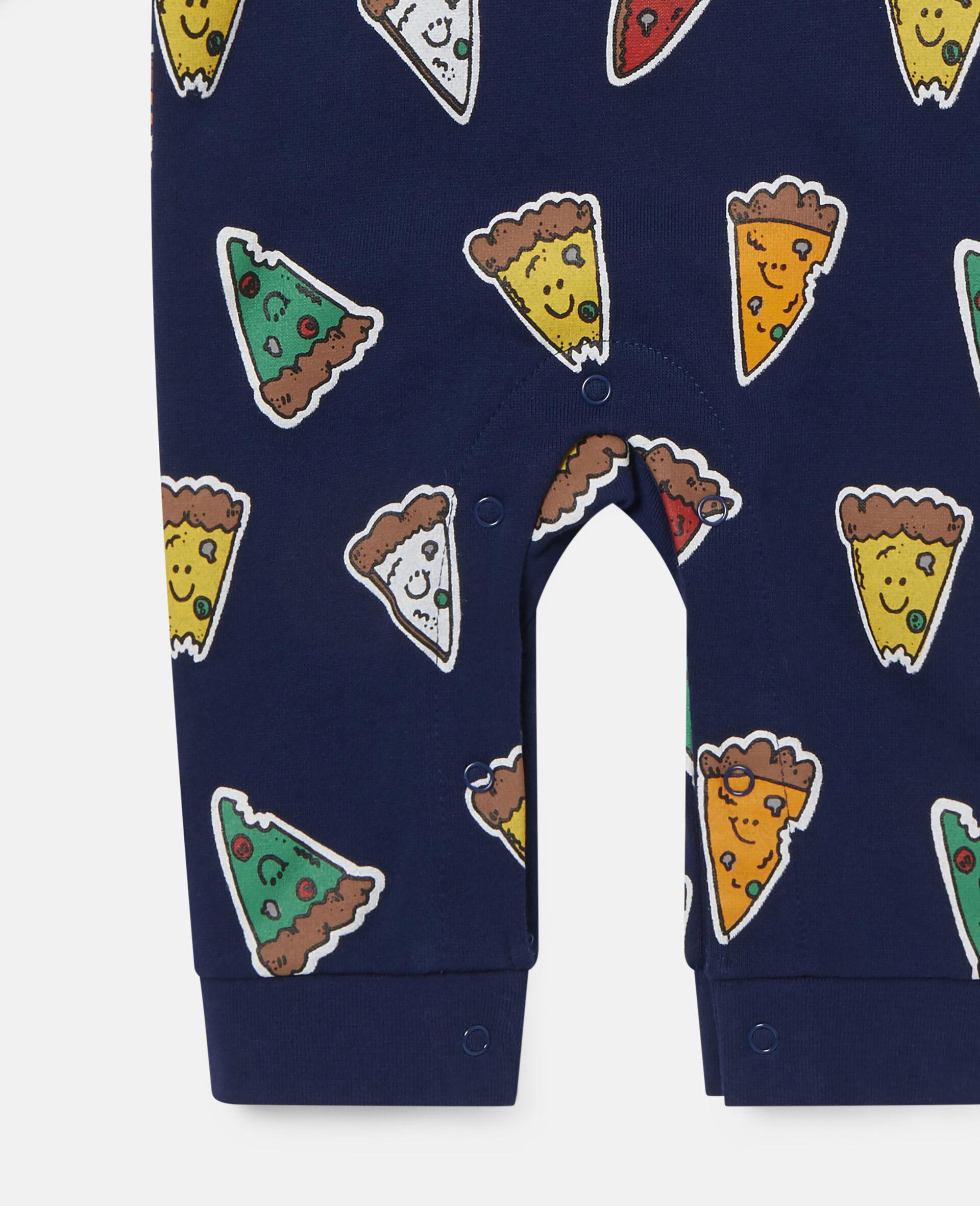 Pizzas Fleece Jumpsuit-Blue-large image number 1