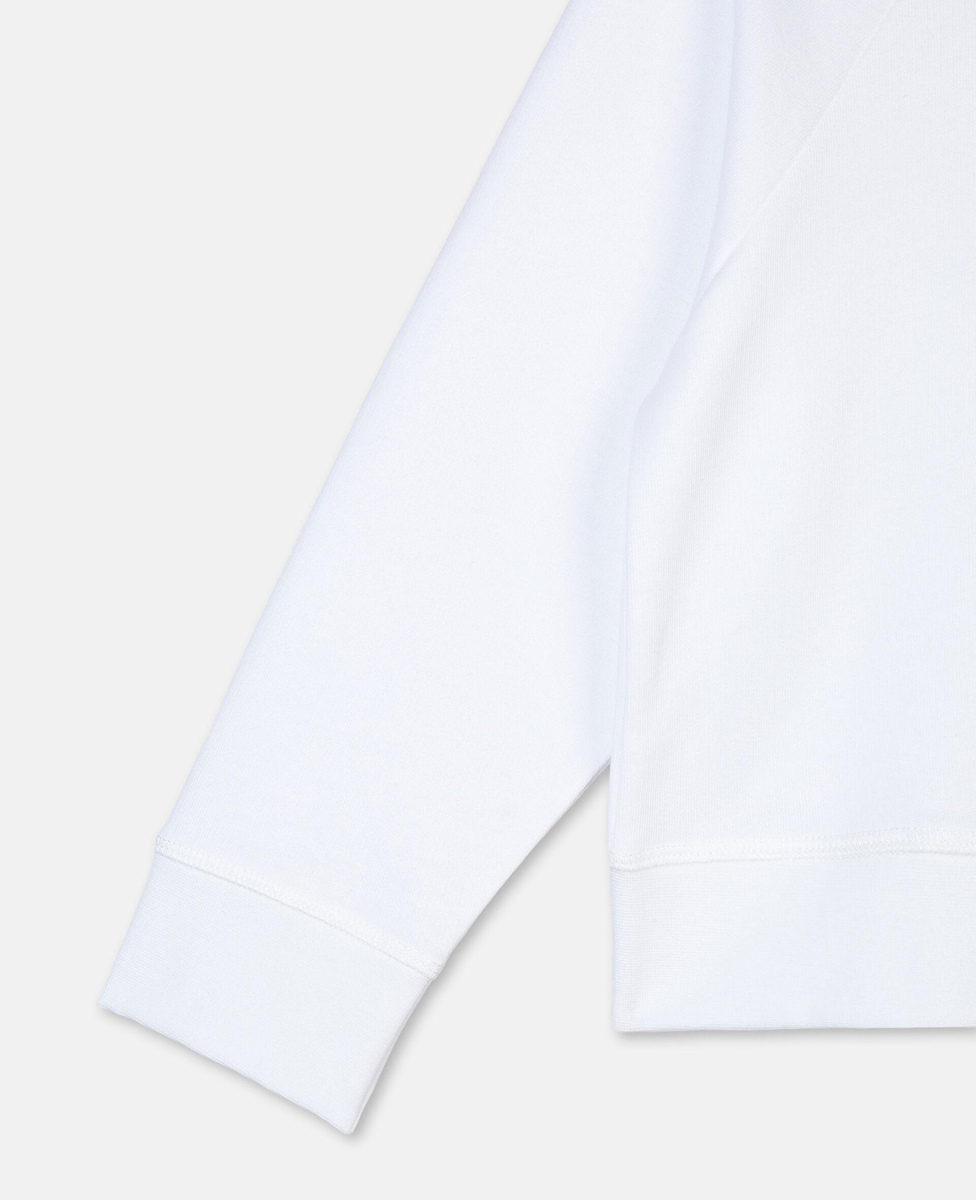 Felpa in Cotone con Logo Mandarino-Bianco-large image number 2