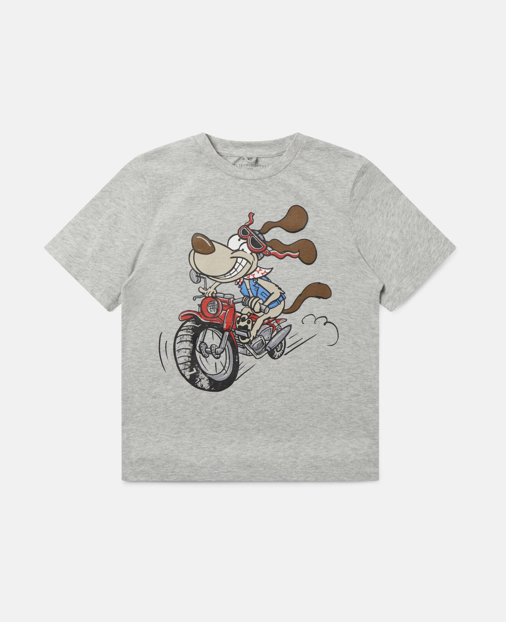T-shirt en coton imprimé chien motard délirant-Gris-large image number 0