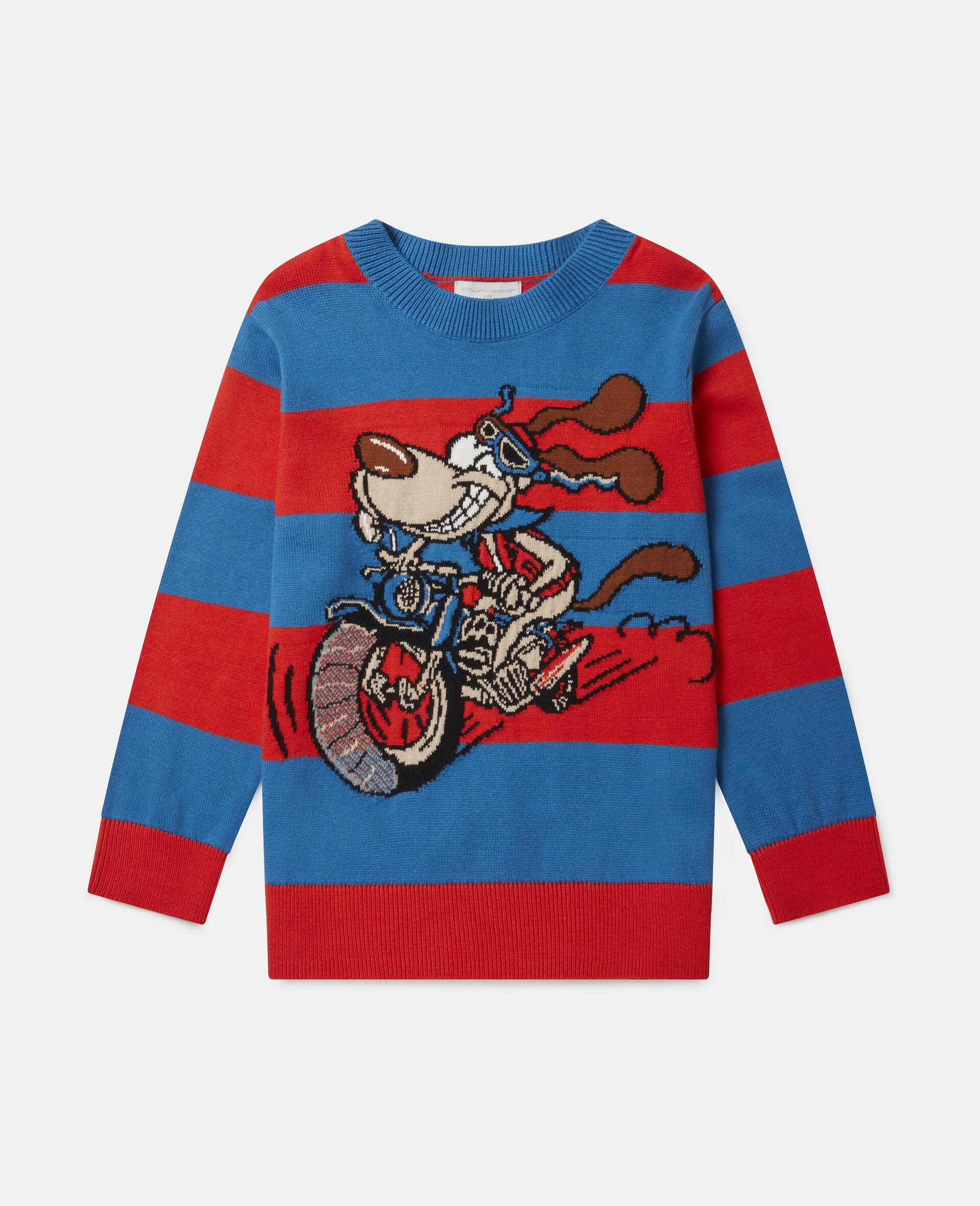 Crazy Dog Oversized Knit Intarsia Sweater-Multicoloured-large image number 0