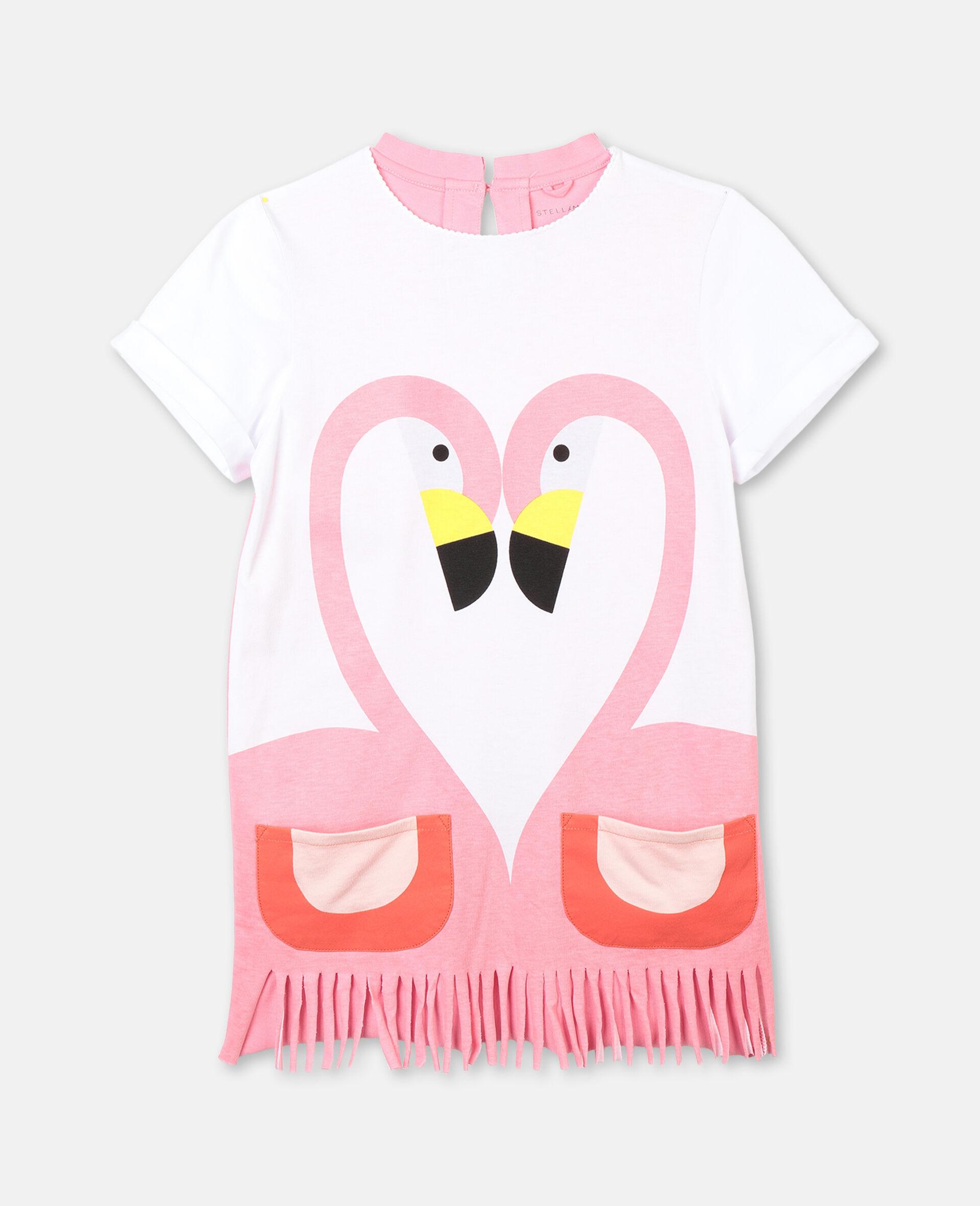 Flamingo Cotton Dress-White-large image number 0
