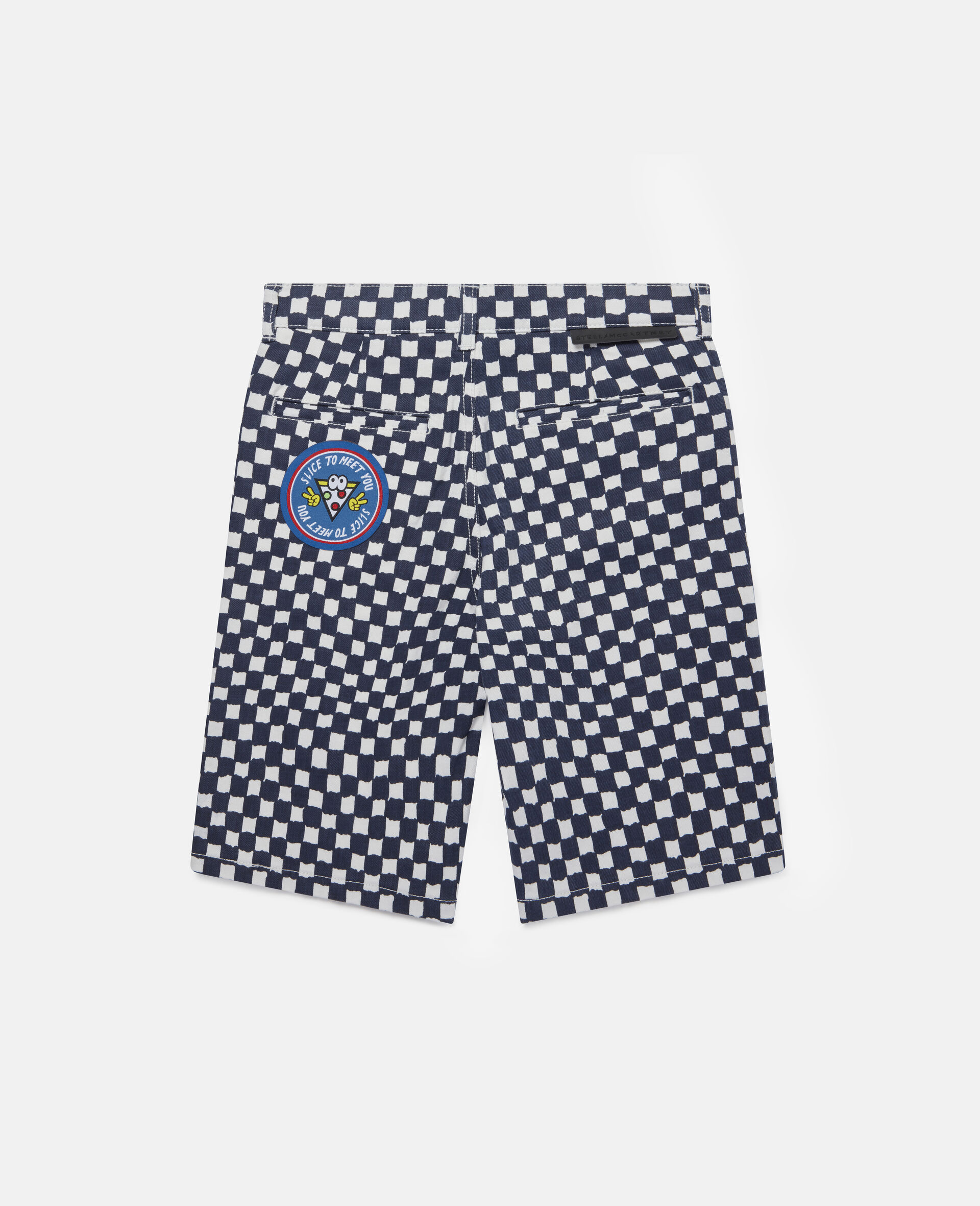 Checked Denim Shorts -Multicolour-large image number 3