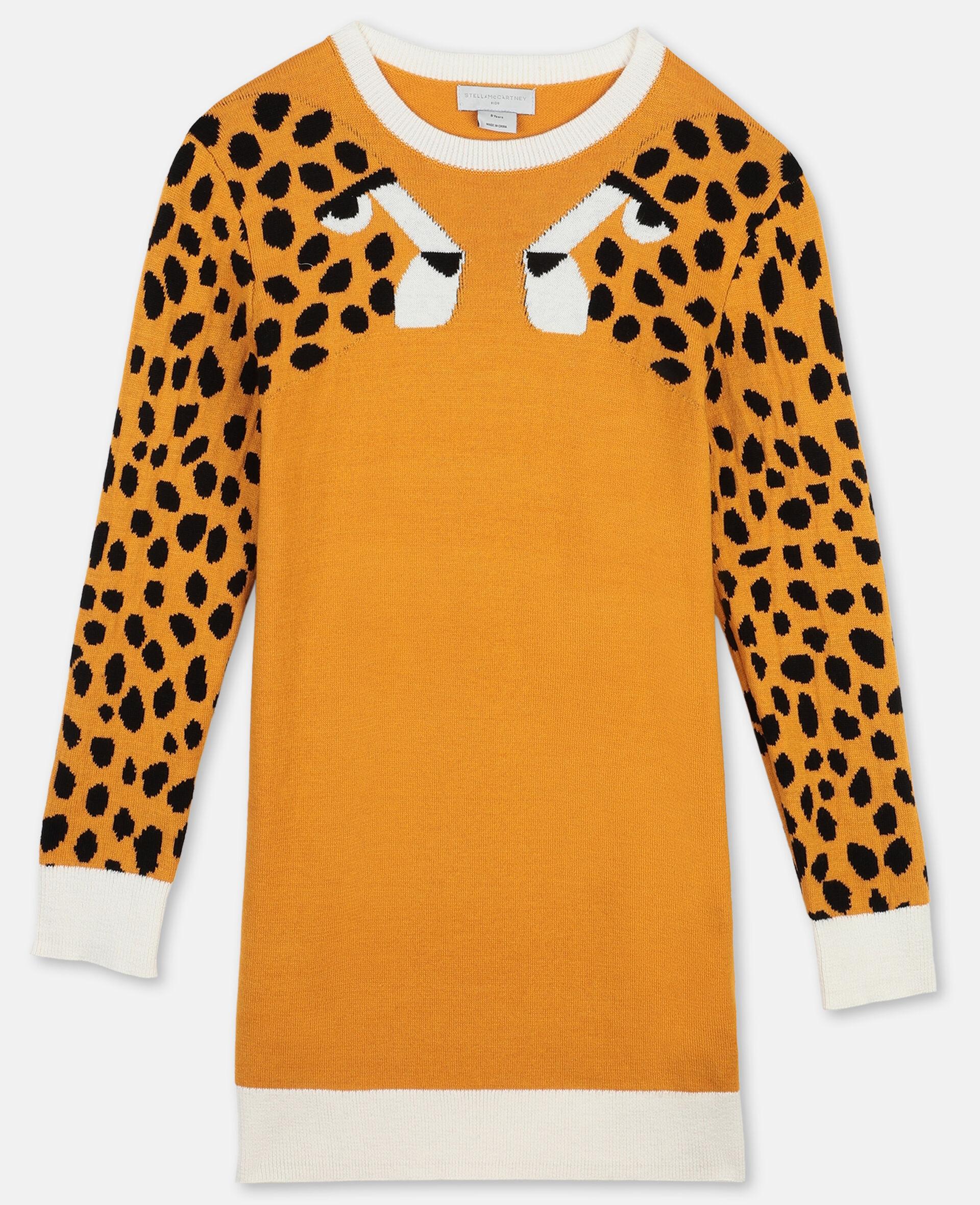 Cheetah Intarsia Knit Dress-Orange-large image number 0