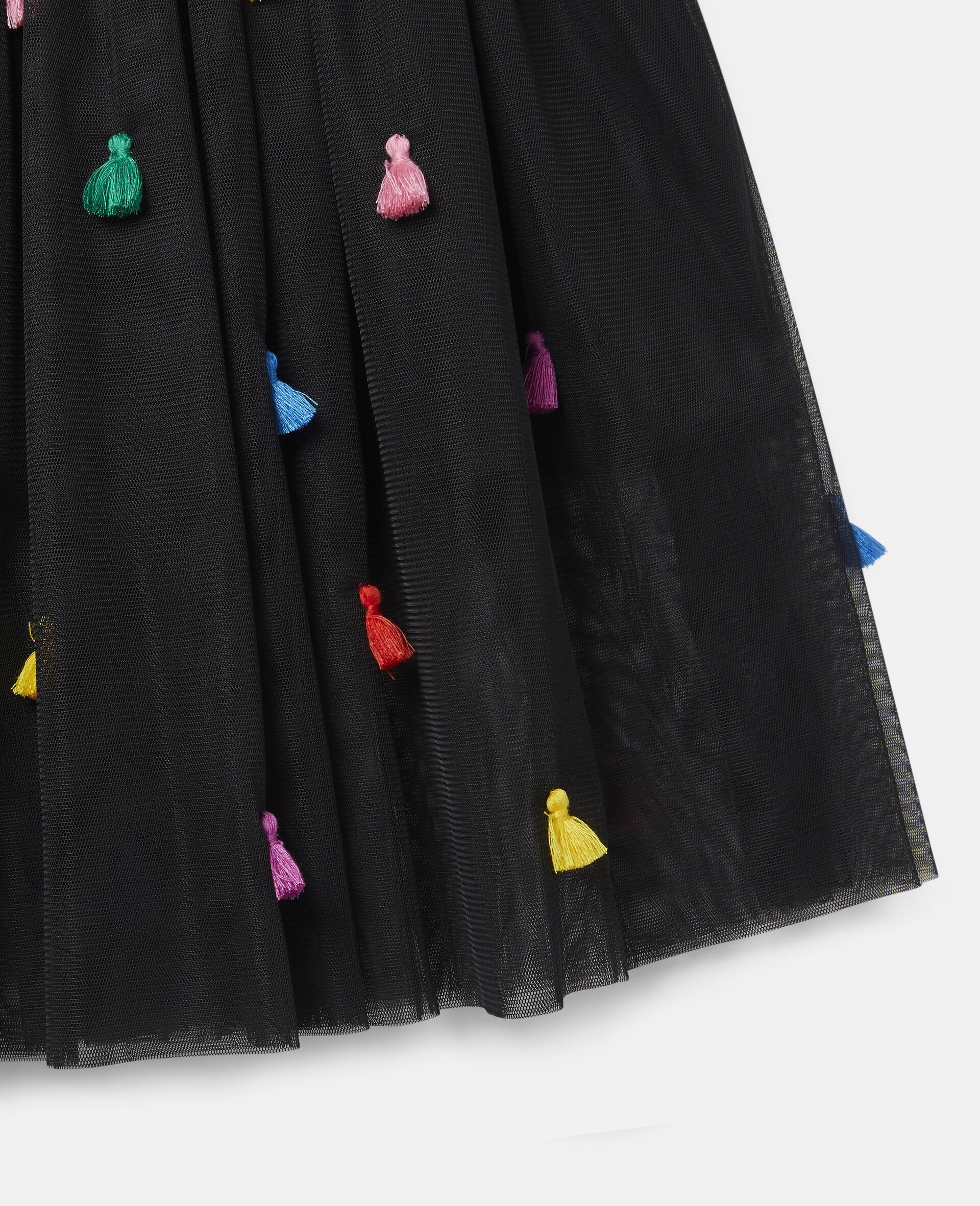 Jupe en tulle à pompons -Noir-large image number 1