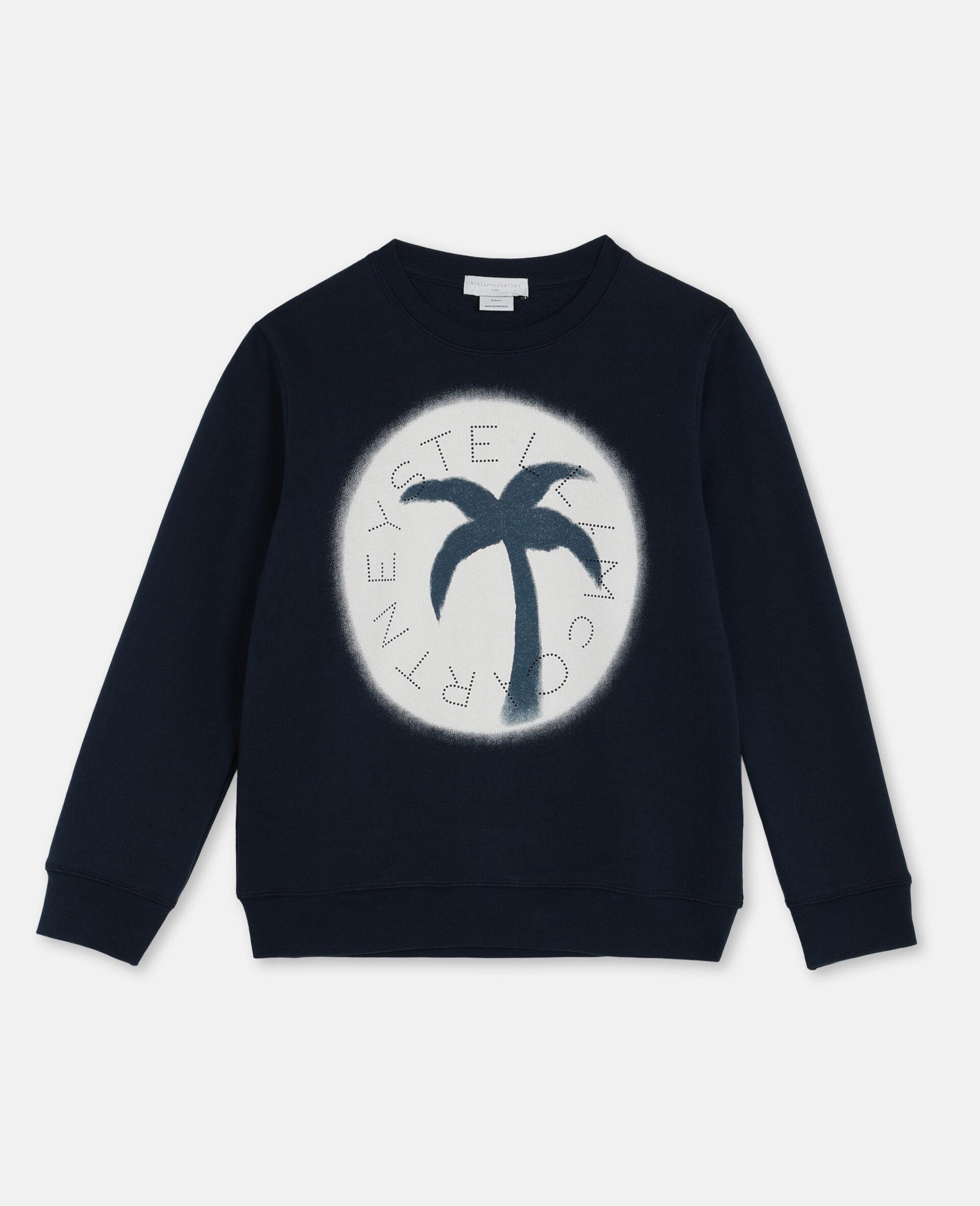Sweat-shirt en molleton de coton oversize avec logo-Bleu-large image number 0