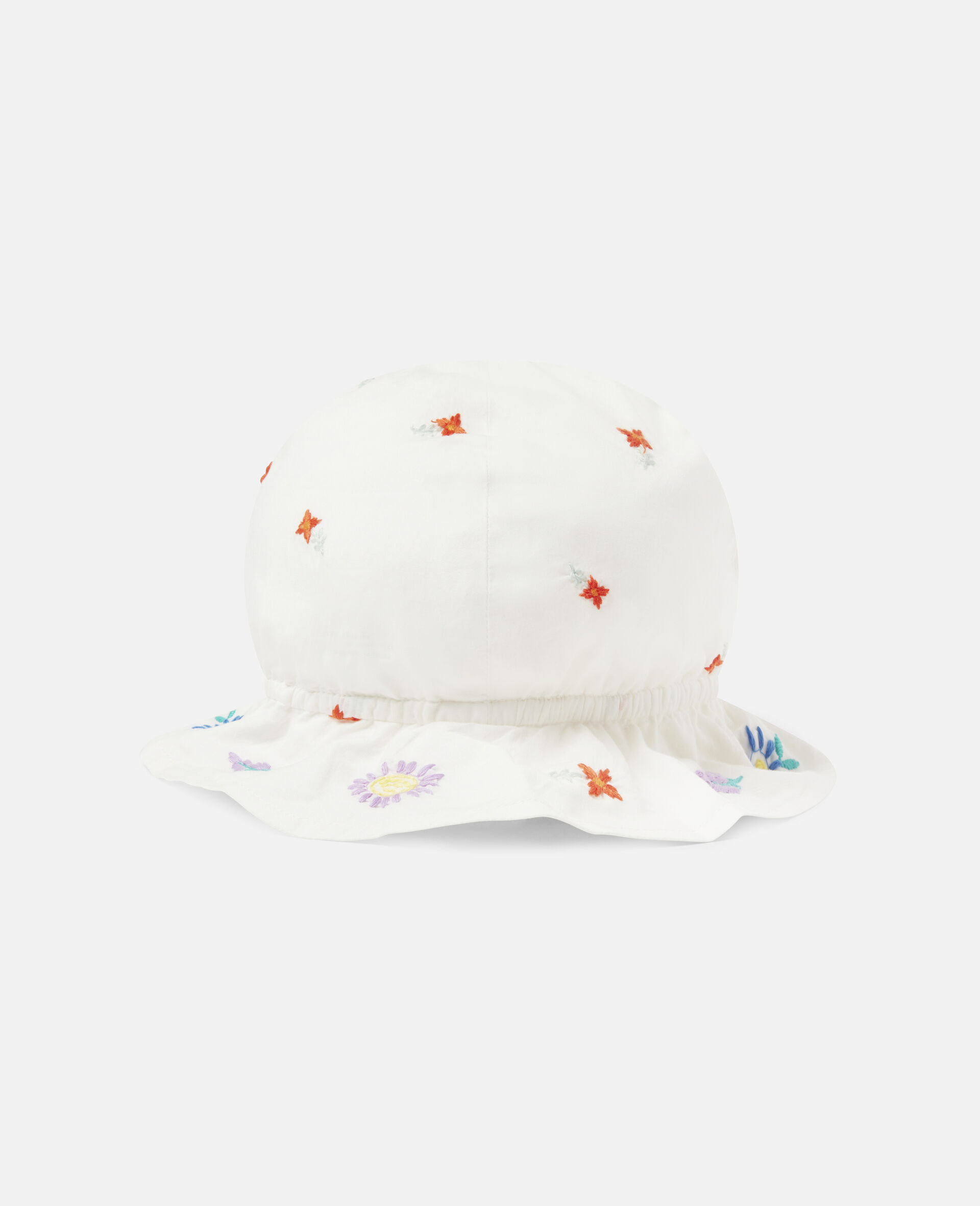 Embroidered Flowers Cotton Hat-White-large image number 1