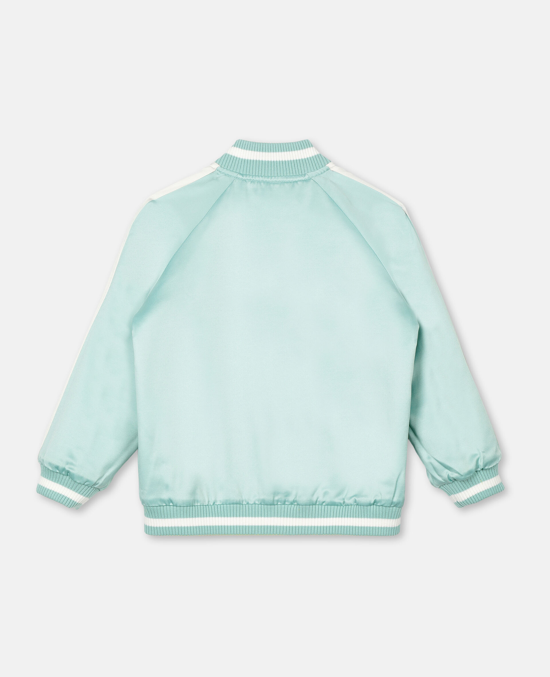 Embroidered Butterfly Satin Bomber -Green-large image number 4
