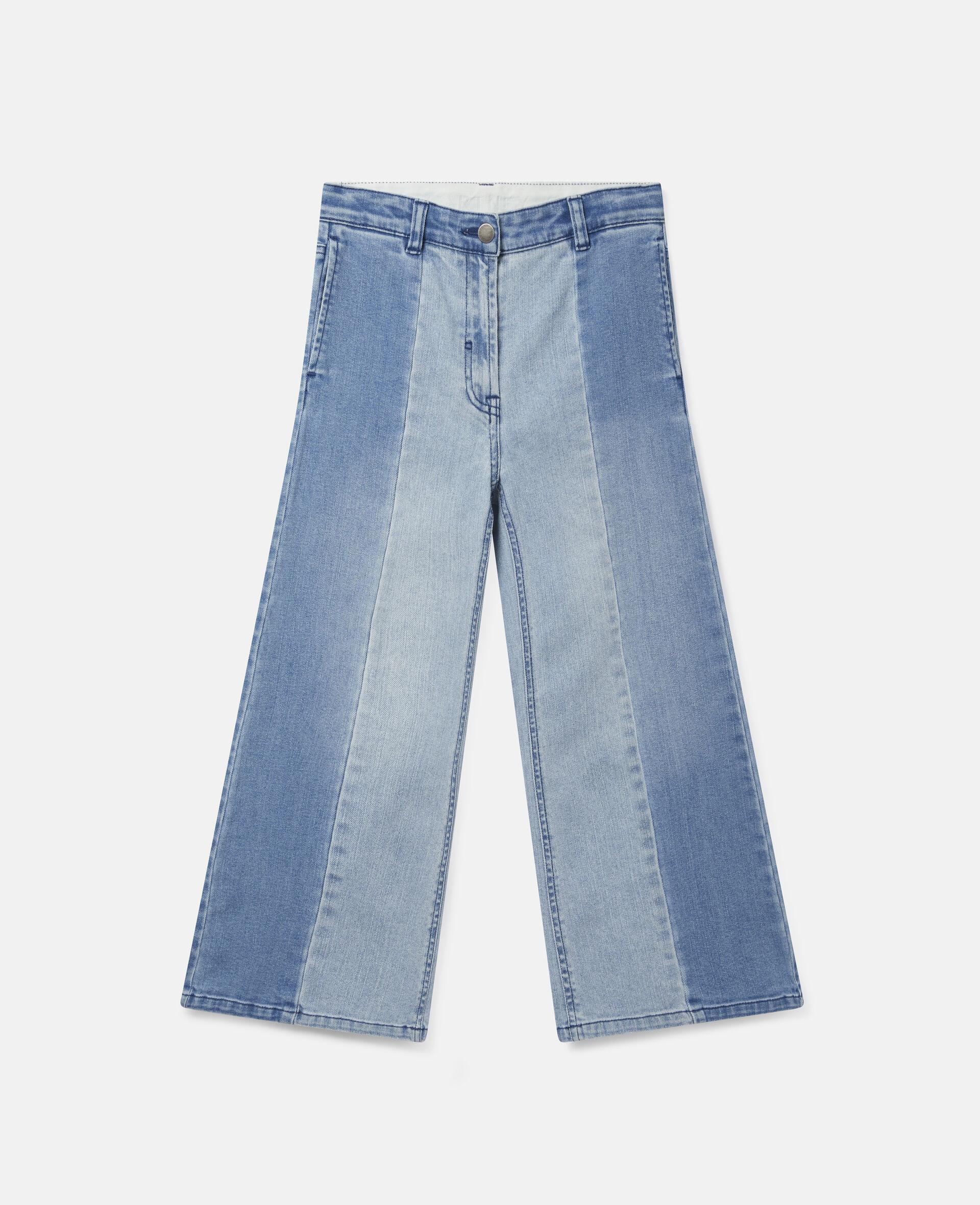 双色牛仔长裤 -蓝色-large image number 0