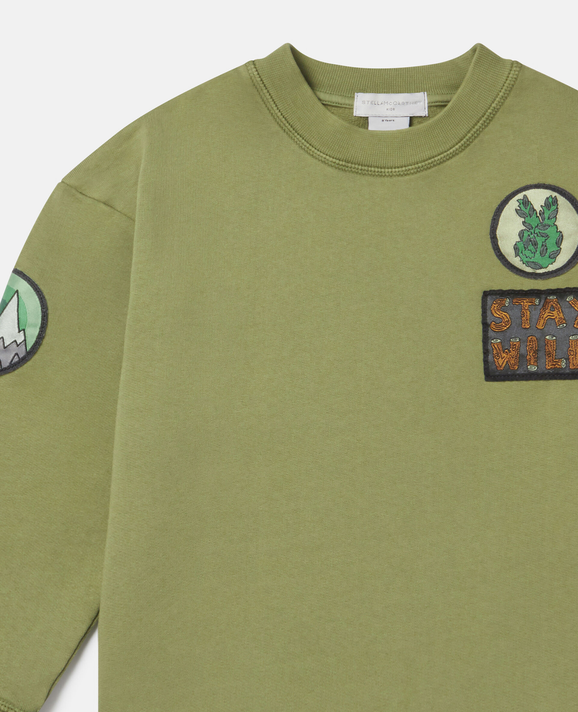 Felpa Oversize in Cotone con Badge-Verde-large image number 1