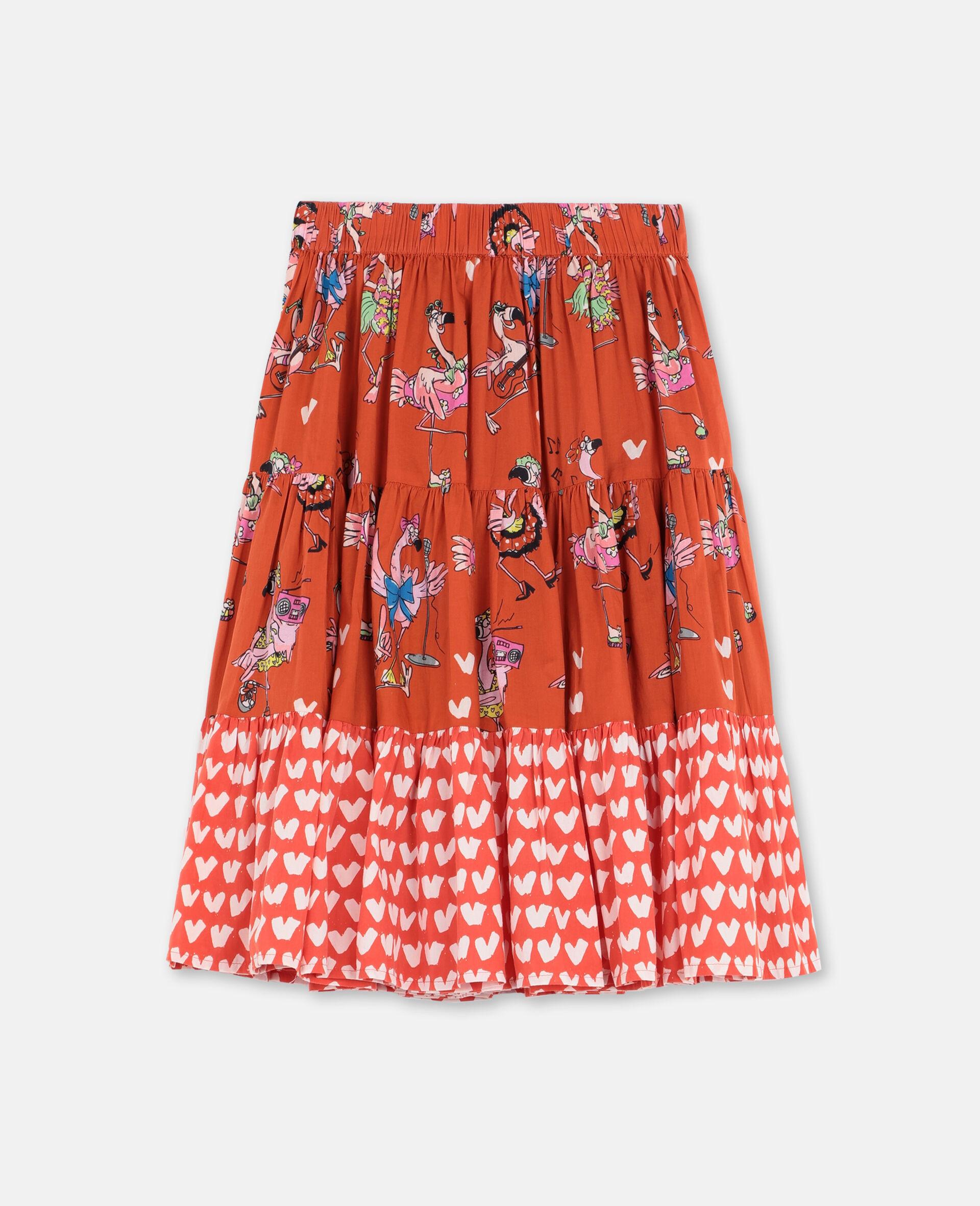 Jupe en coton avec flamants roses festifs -Rouge-large image number 0