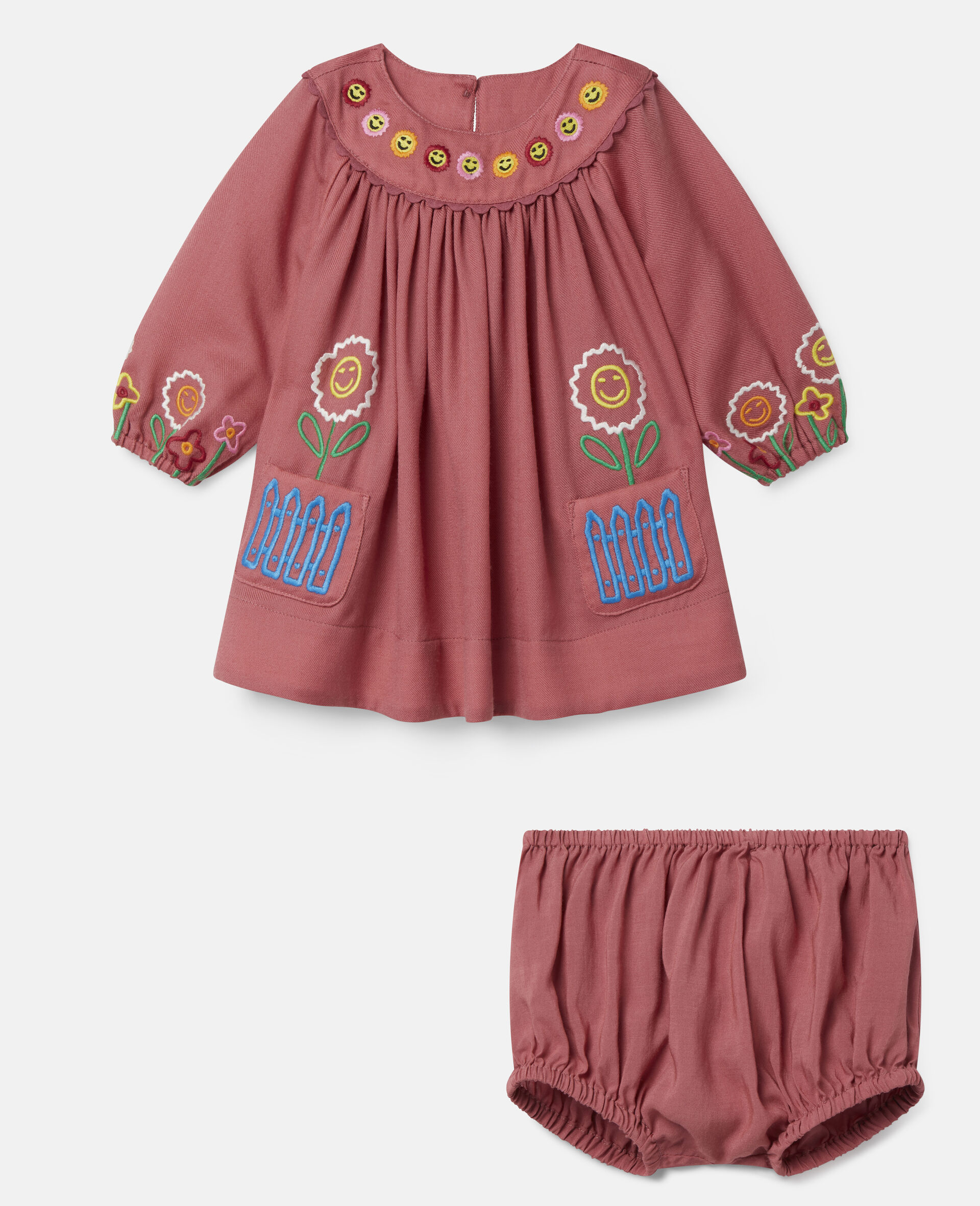 Embroidered Garden Wool Dress-Red-large image number 0