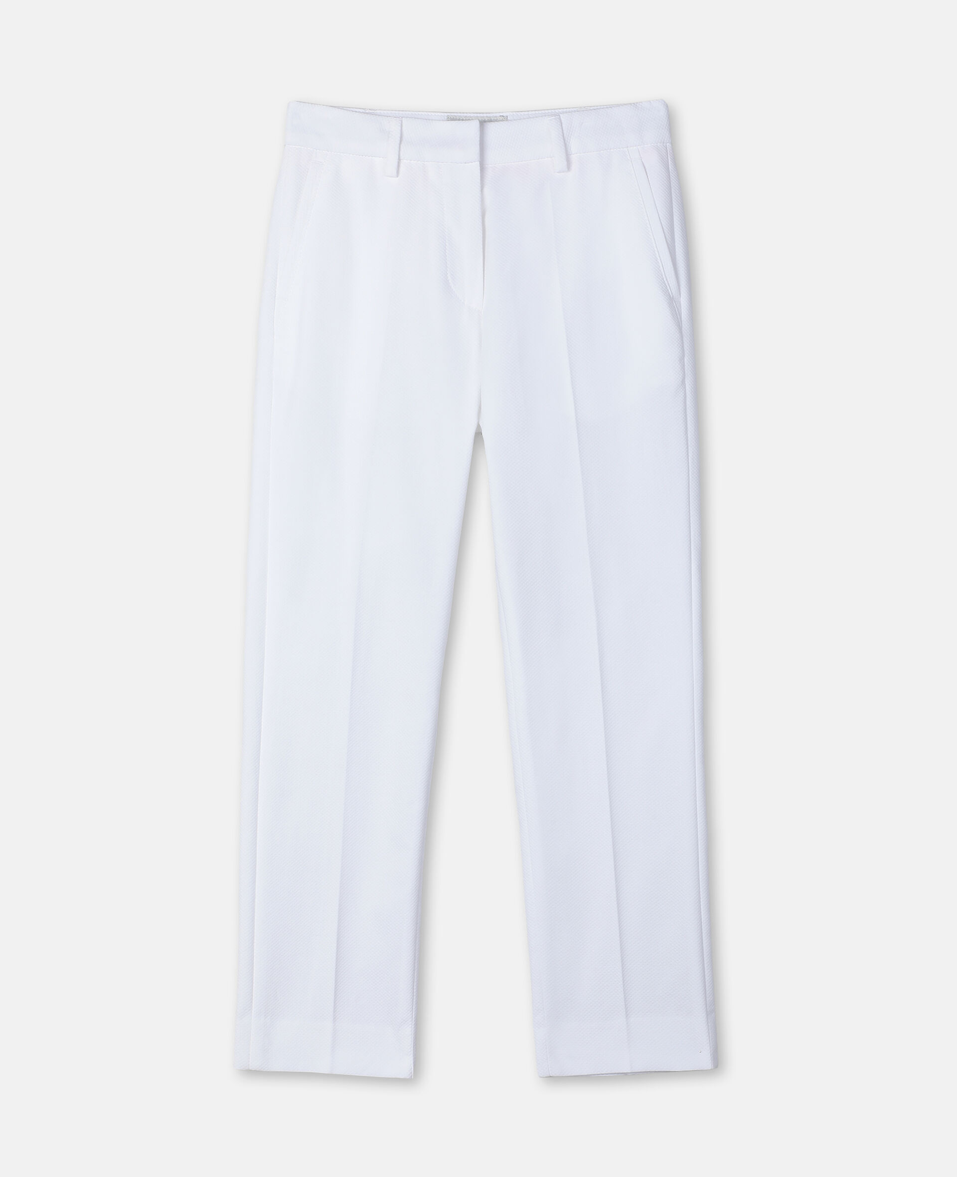 棉质珠地布西装裤-白色-large image number 0