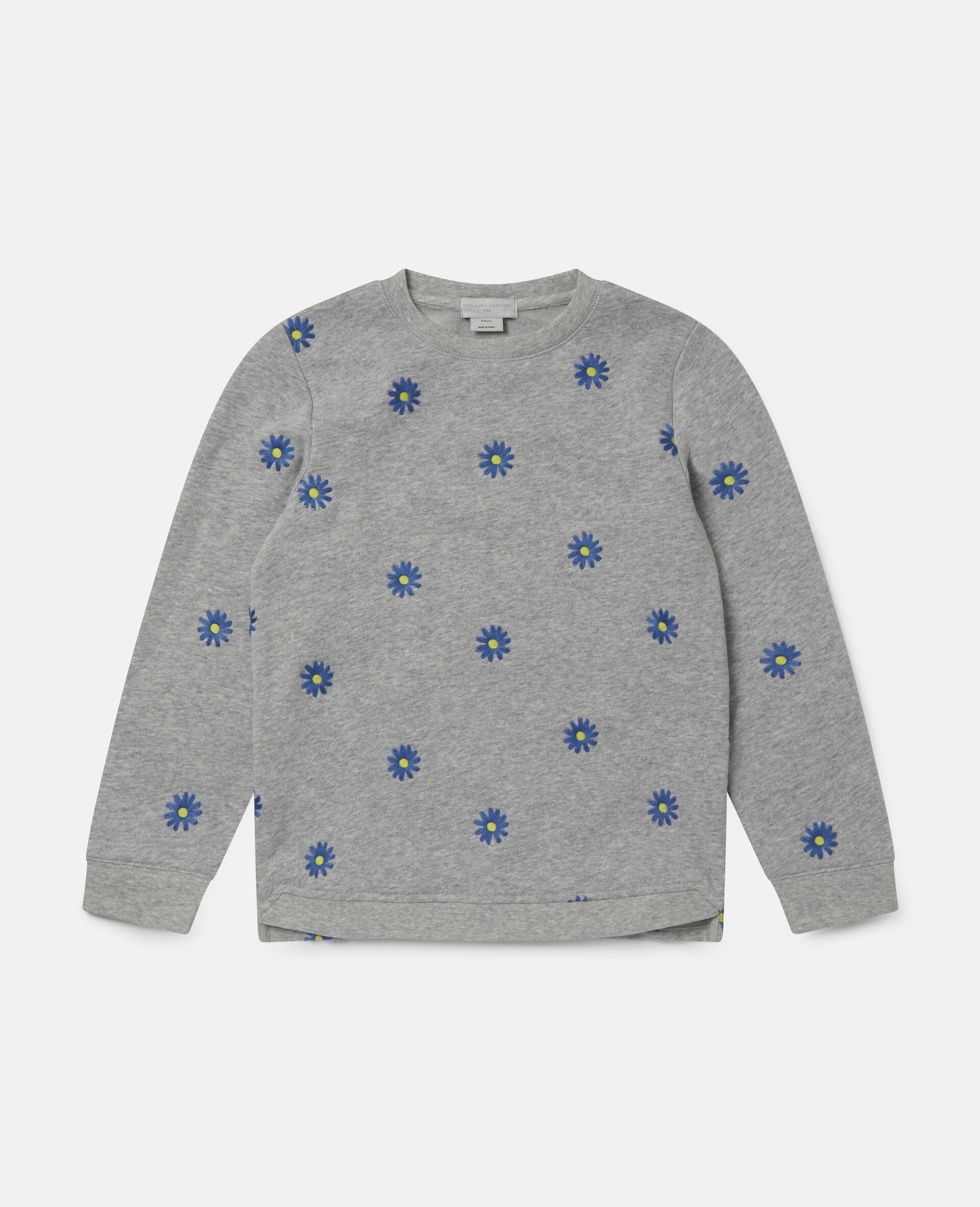 Embroidered Daisies Cotton Fleece Sweatshirt -Grey-large image number 0