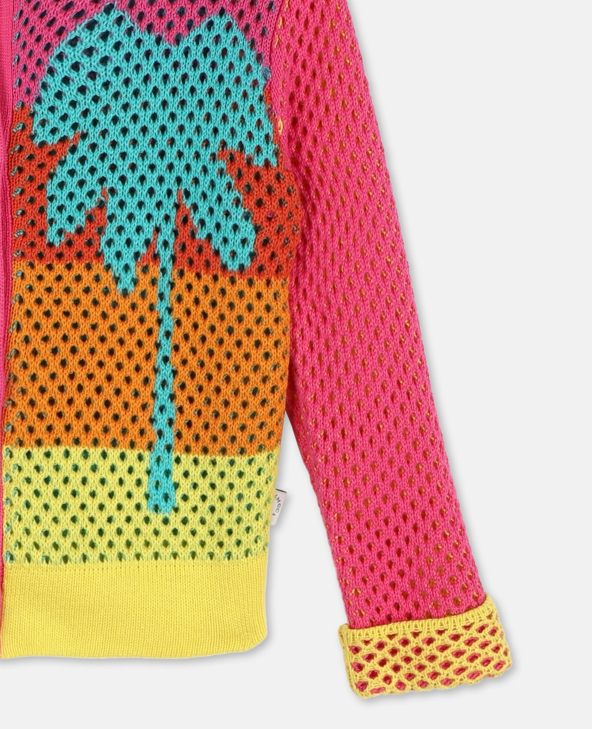 Intarsia Mesh Knit Cotton Cardigan-Multicolour-large image number 2