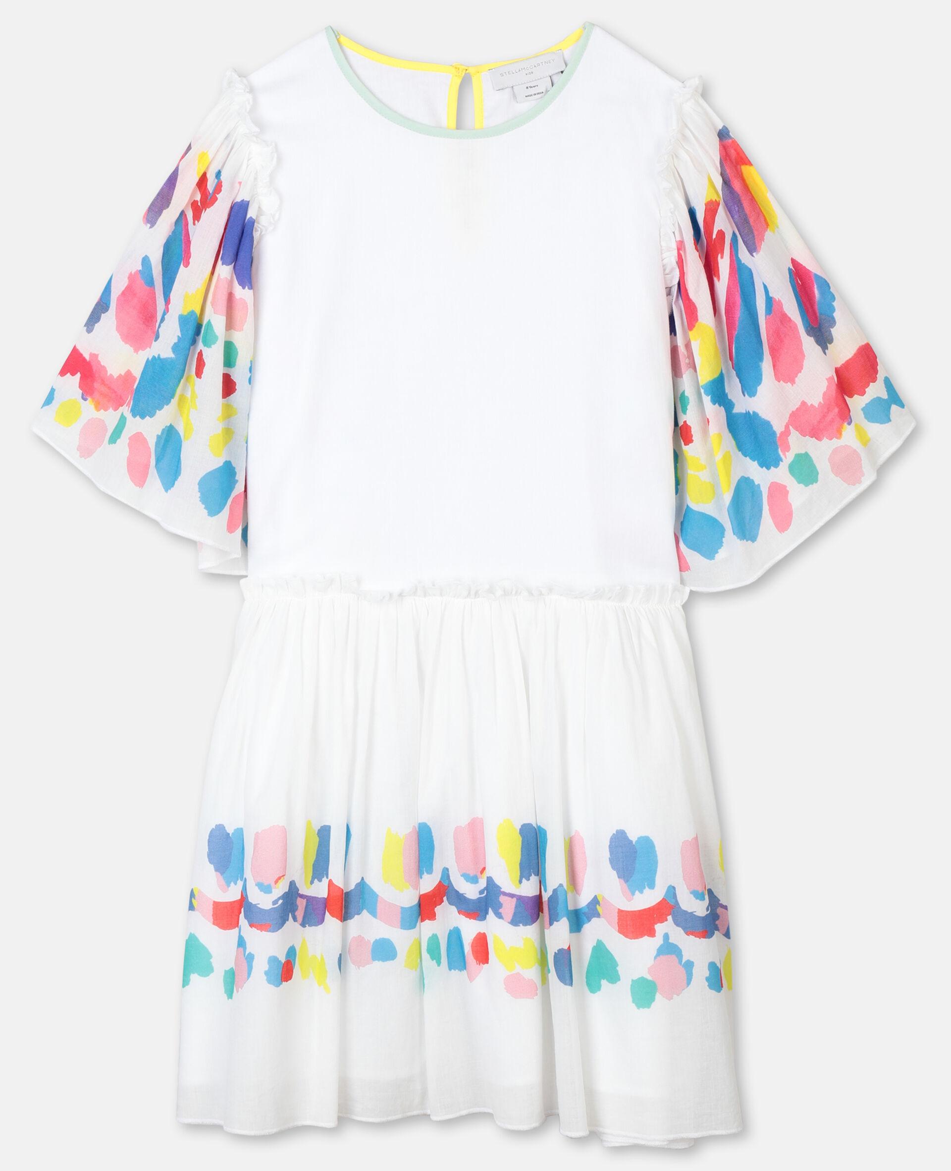 Weites Baumwollkleid mit Schmetterlingen-Weiß-large image number 0