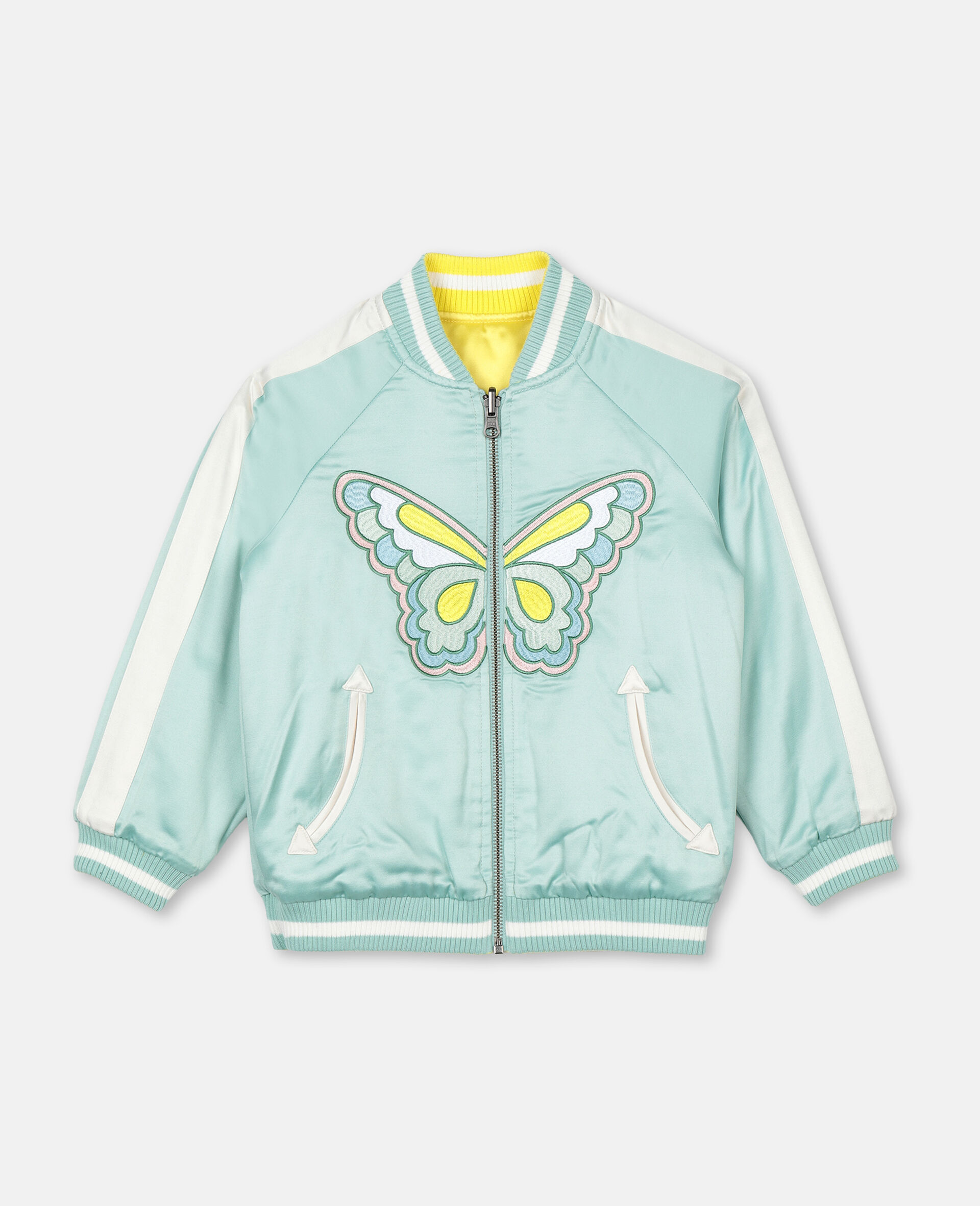 Embroidered Butterfly Satin Bomber -Green-large image number 0