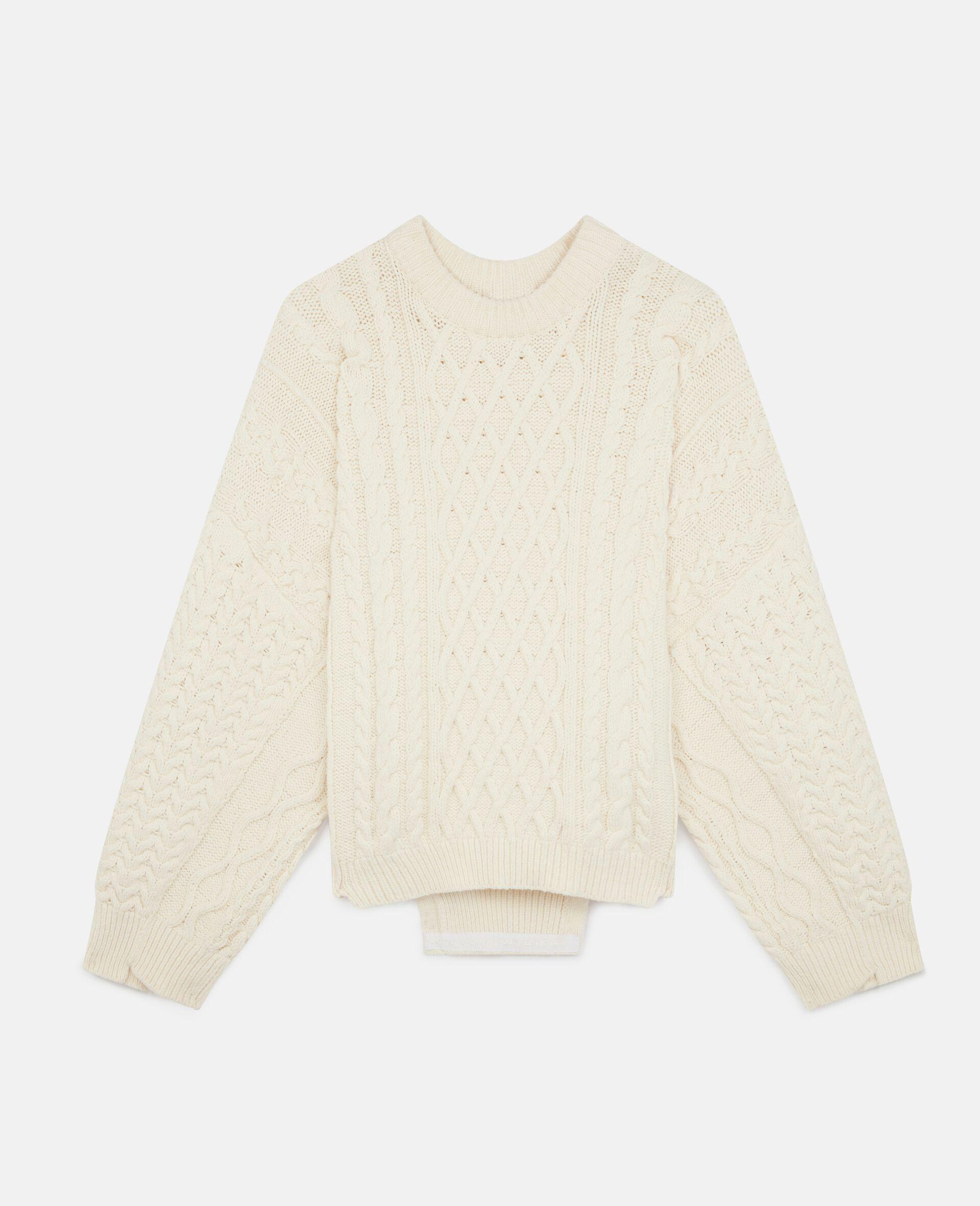 Aran Stitch Oversized Sweater-White-large image number 0