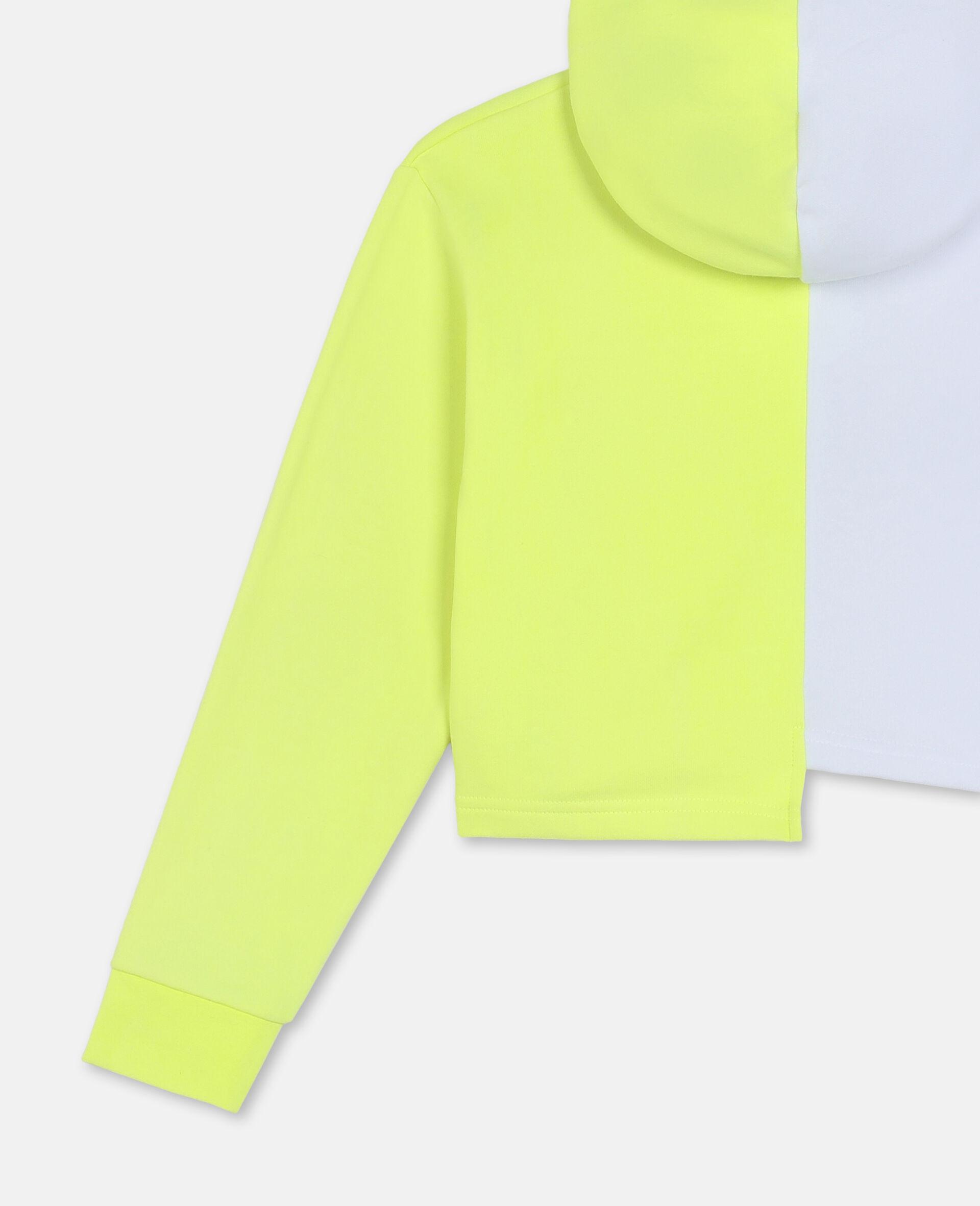 Sweat-shirt à capuche de sport en molleton de coton avec logo-Blanc-large image number 2