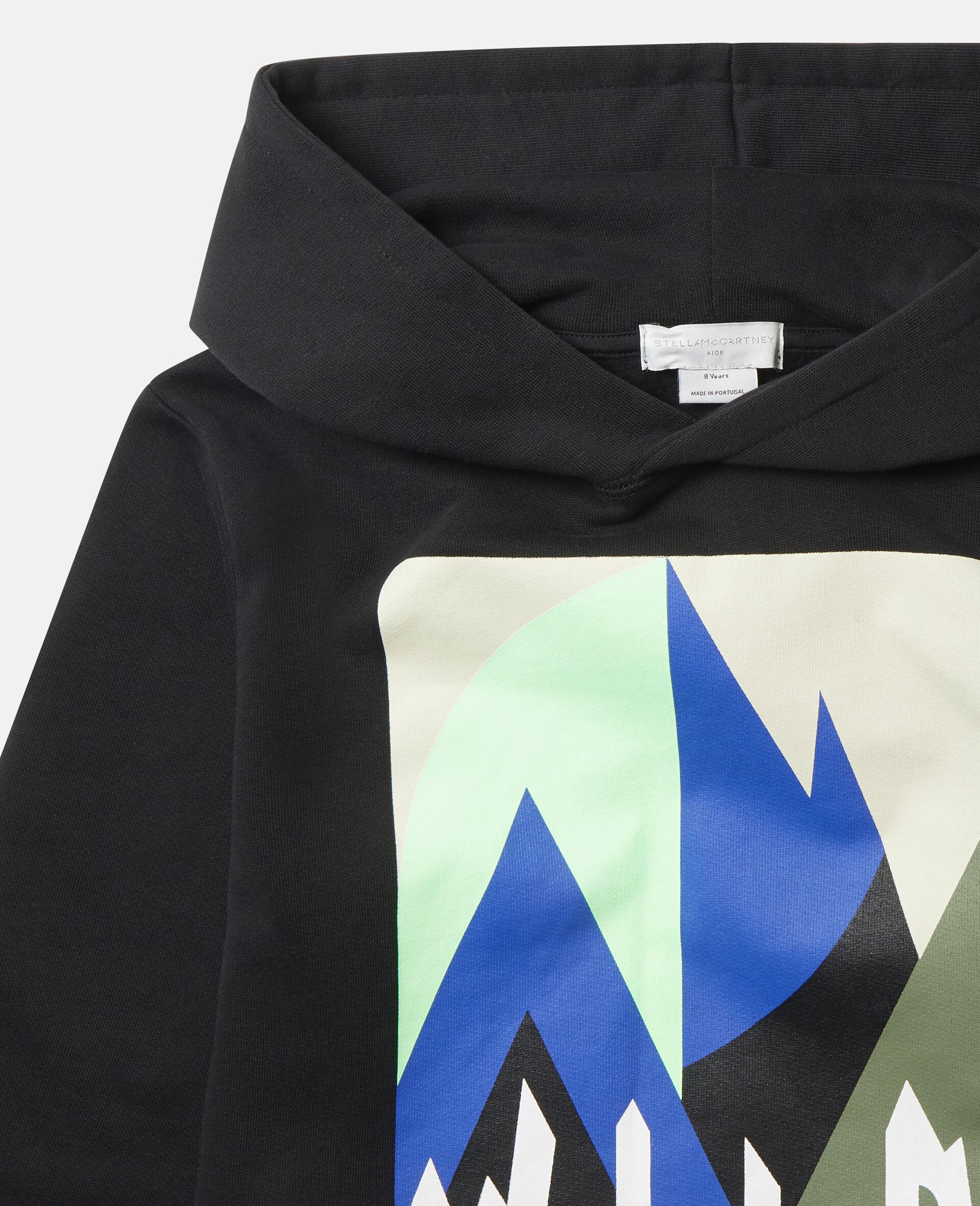 Oversized Graphic Mountain Fleece Hoodie-Black-large image number 1