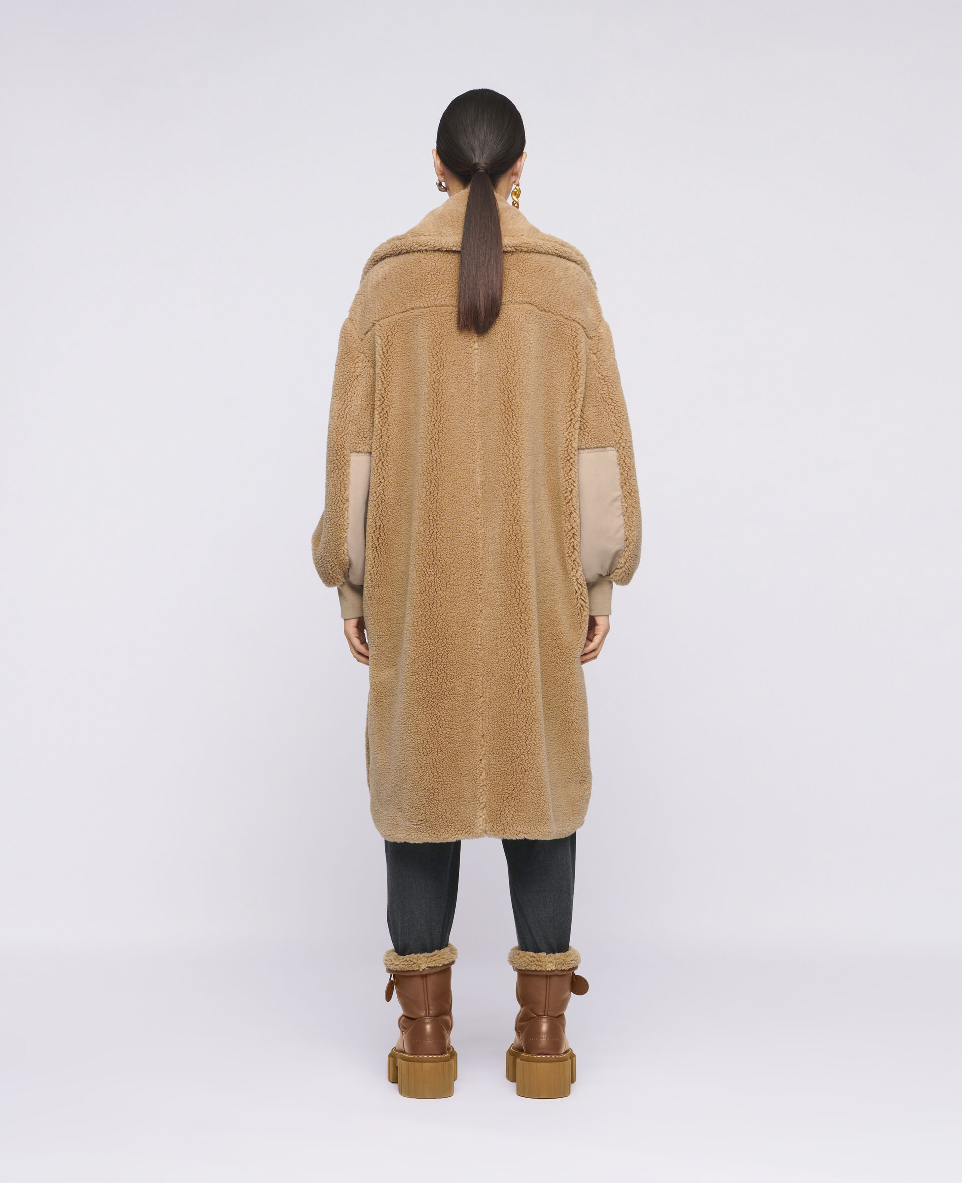 Luna Teddy Mat Coat-Brown-large image number 2