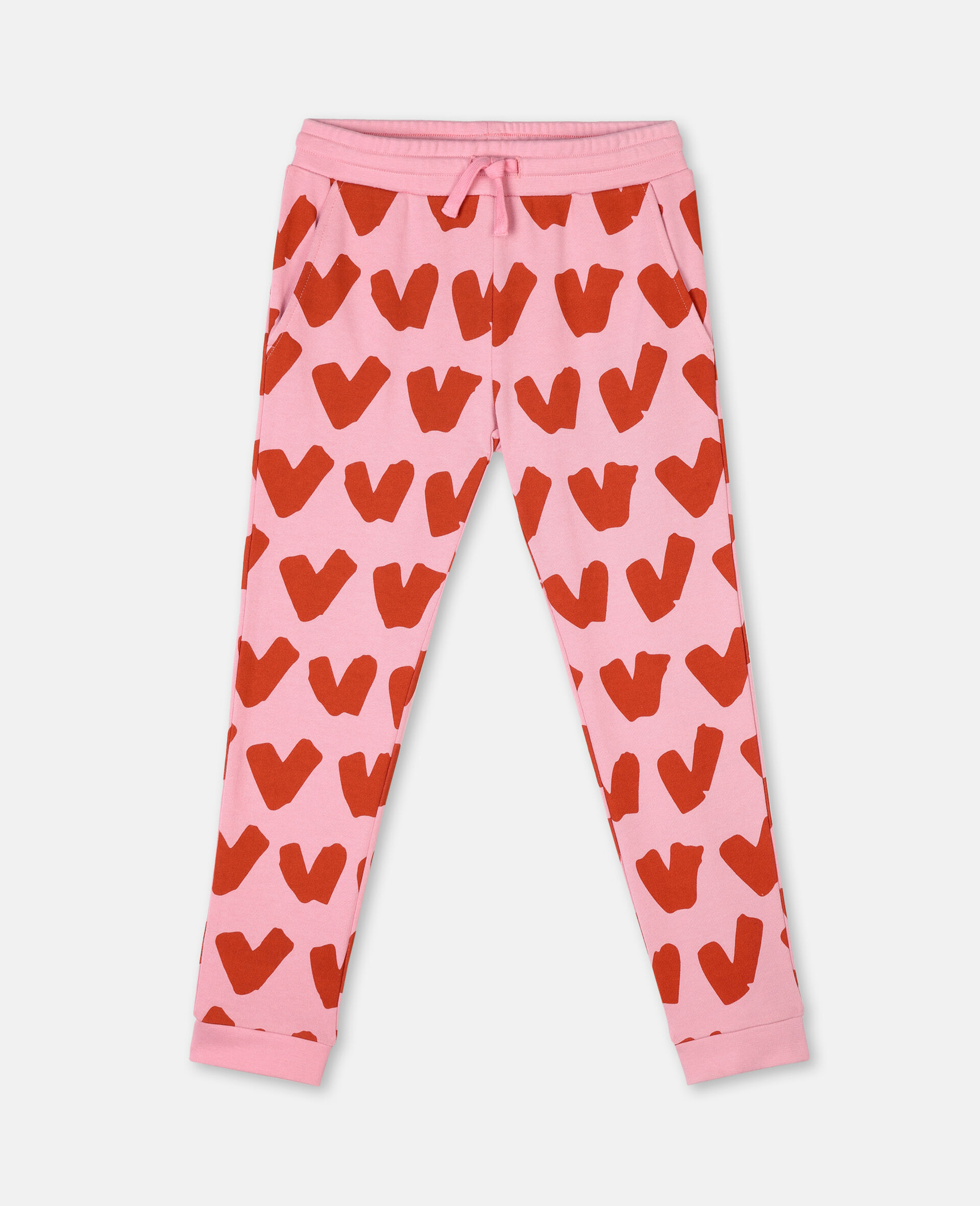Hearts Cotton Fleece Joggers -Pink-large image number 0