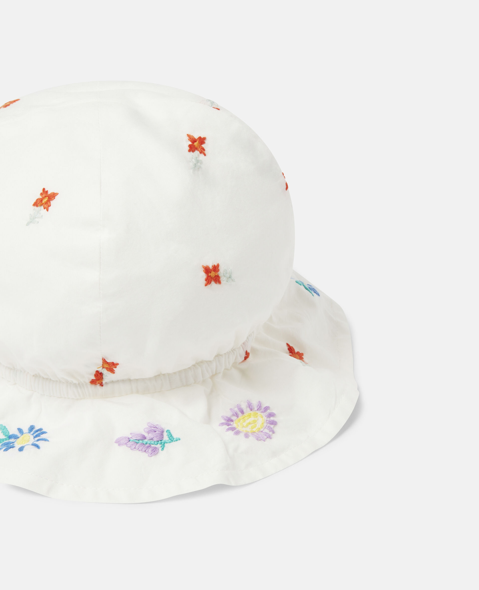 Embroidered Flowers Cotton Hat-White-large image number 2