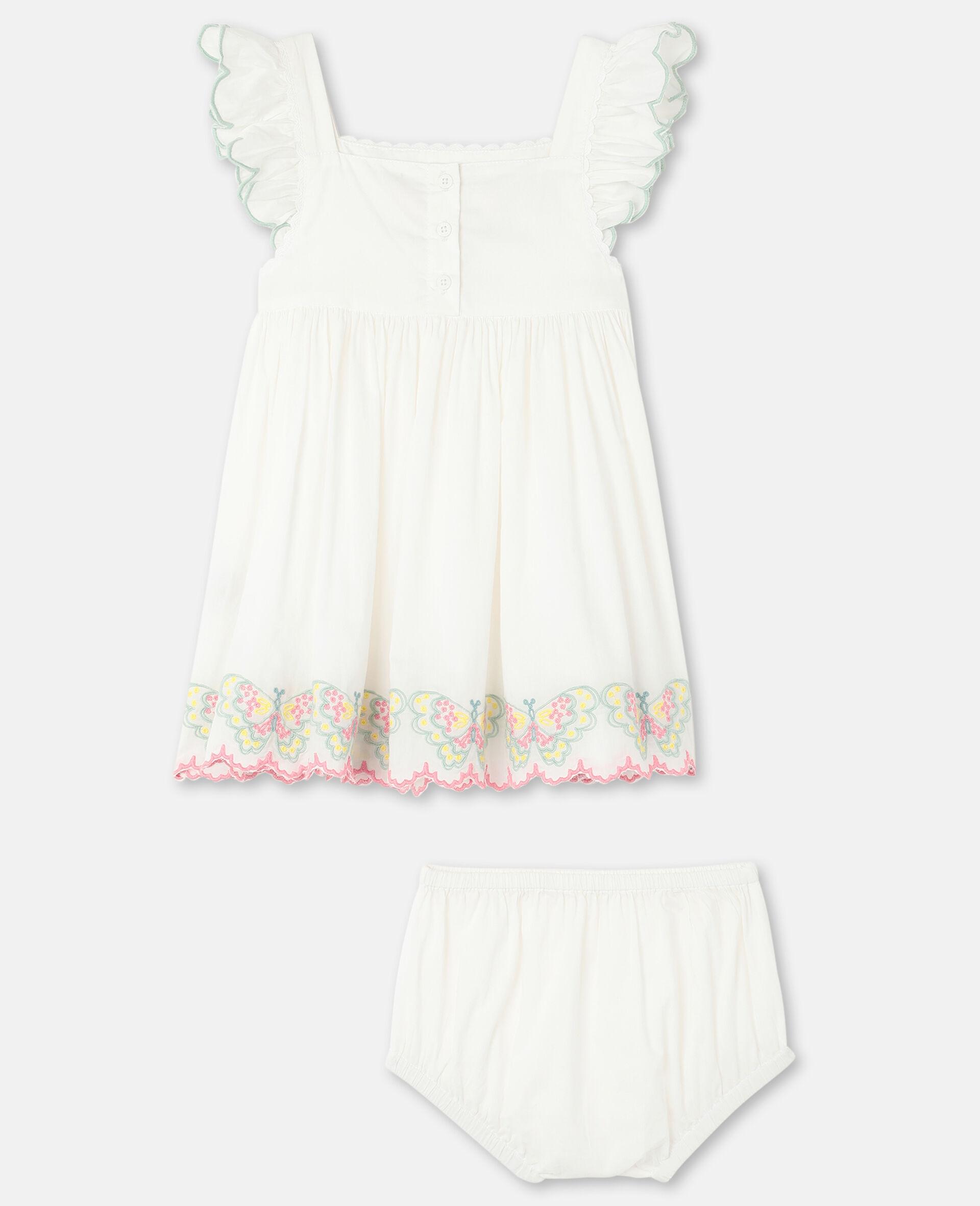 Vestito in Cotone con Farfalle Ricamate-Bianco-large image number 3