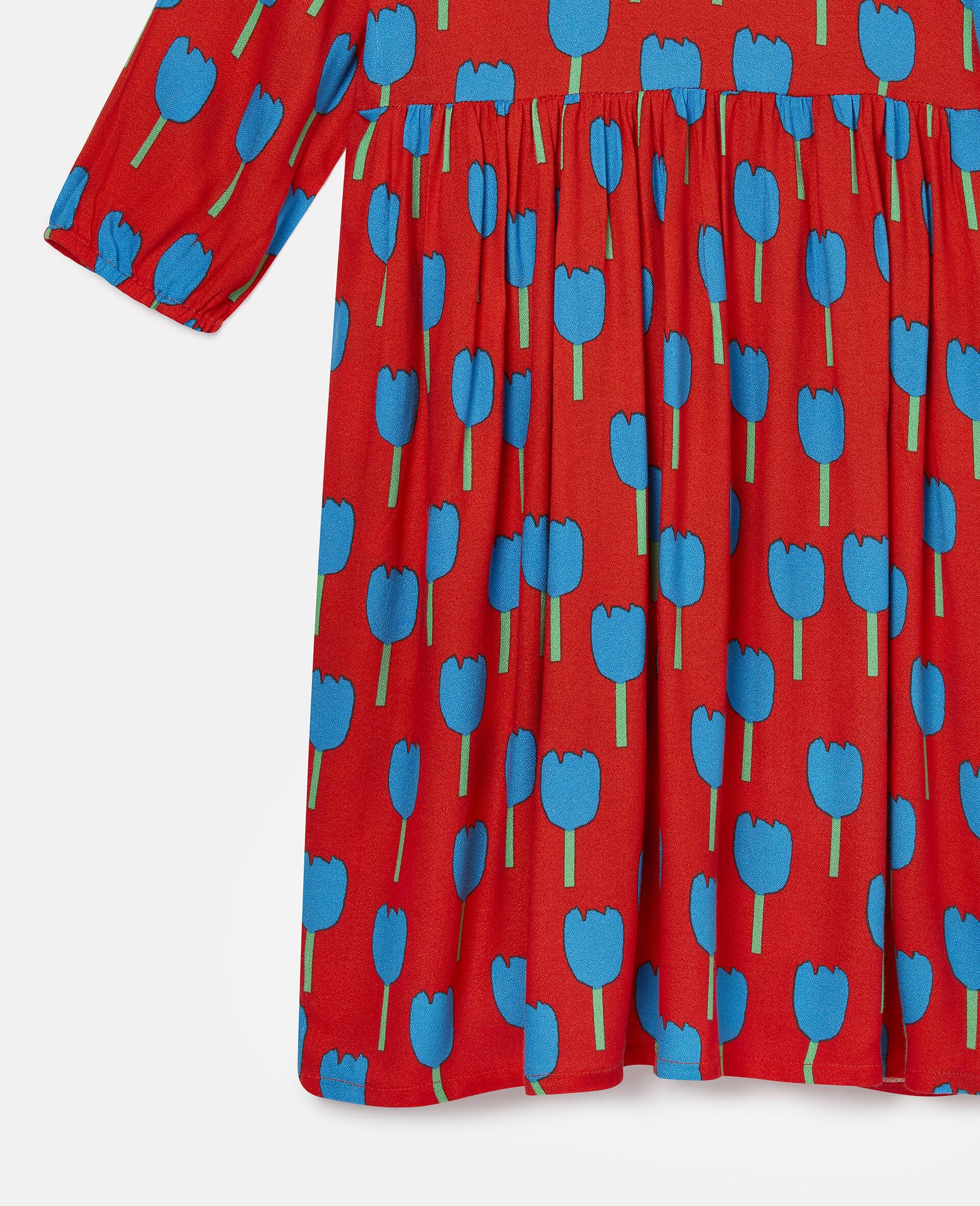 Robe en crêpe de viscose motif tulipes-Rouge-large image number 1