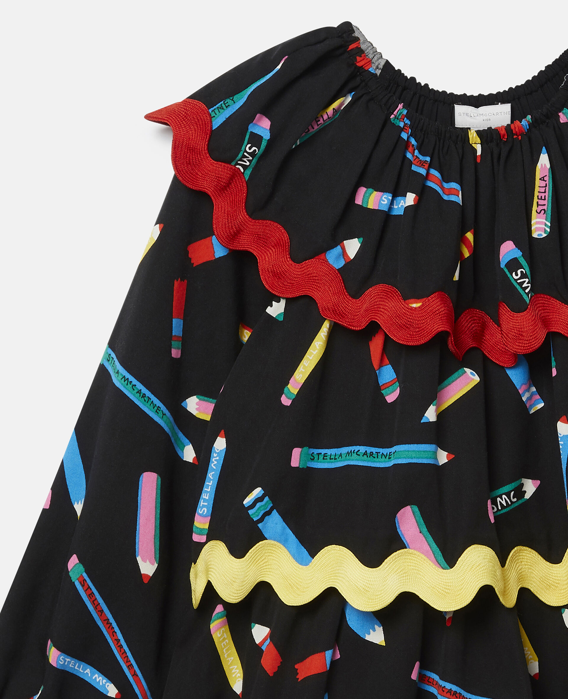 铅笔印花分层斜纹布连衣裙 -黑色-large image number 2