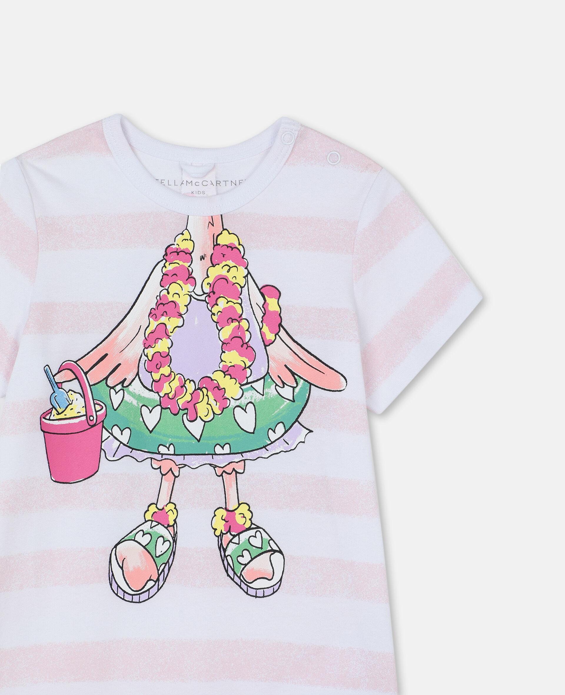 Trompe-L'Oeil Flamingo Cotton Jumpsuit-White-large image number 1