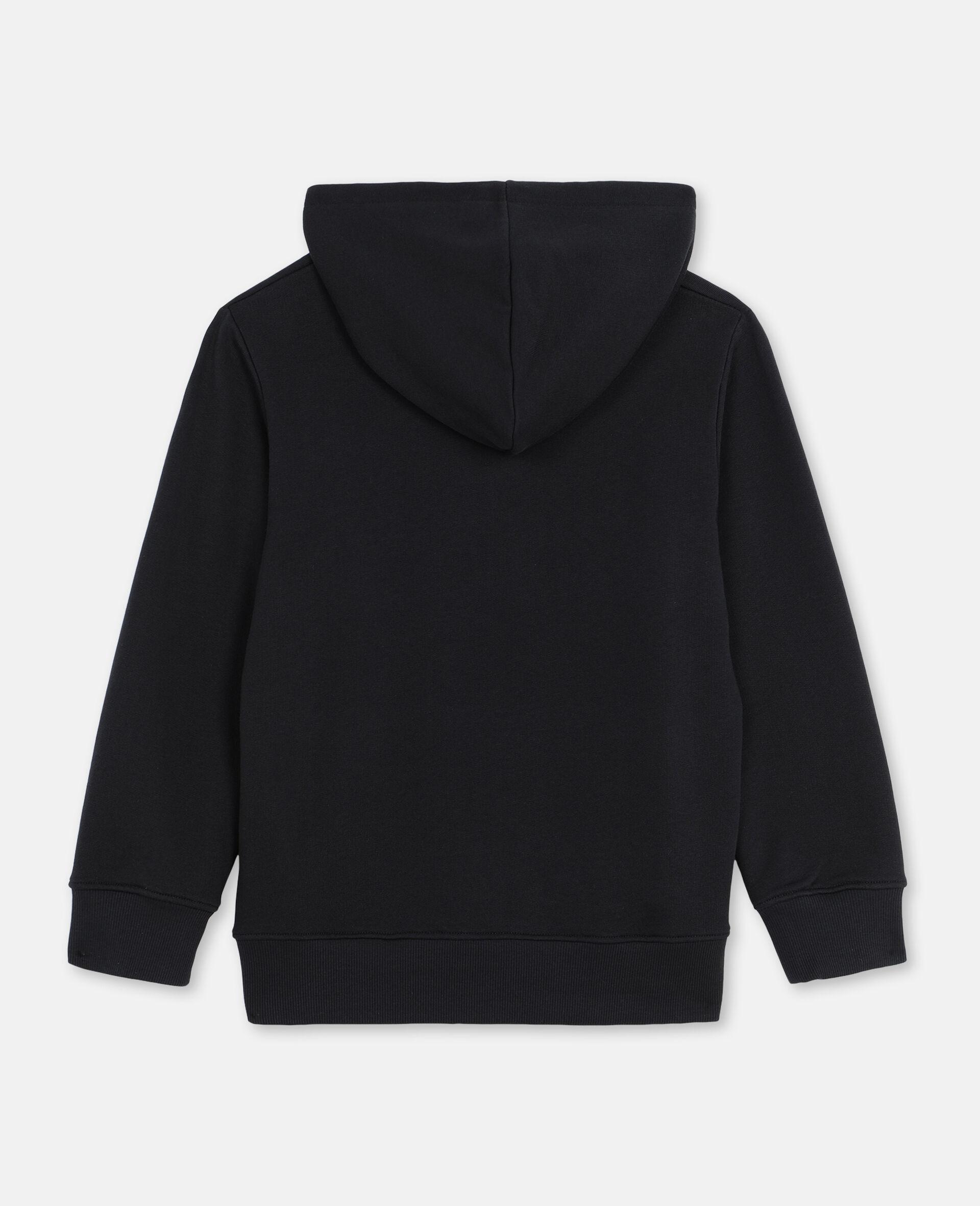 Oversize Skater Cotton Hoodie -Black-large image number 3